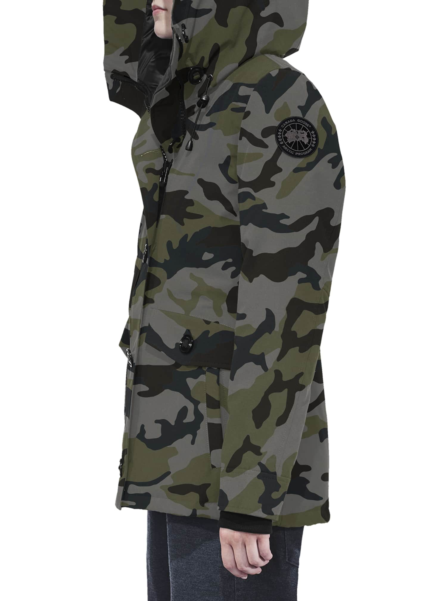 Image 2 of 3: Rideau Hooded Camo Parka Coat