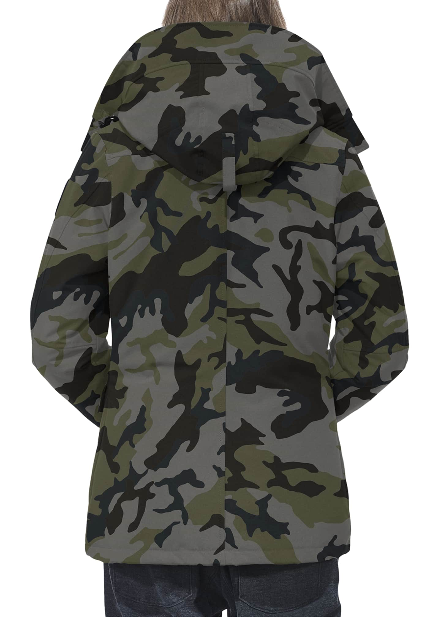 Image 3 of 3: Rideau Hooded Camo Parka Coat
