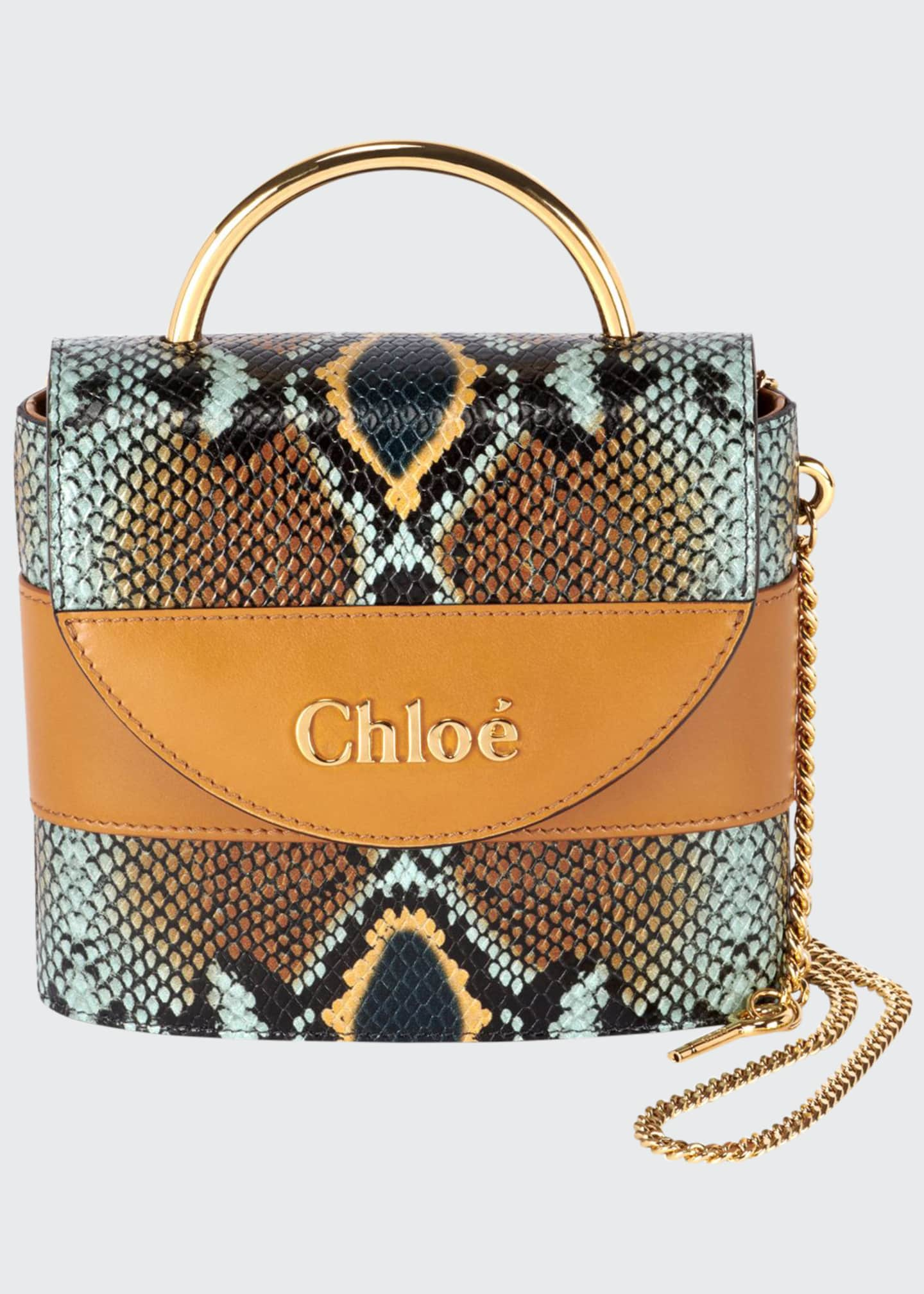 Chloe Aby Lock Python-Print Top Handle Bag