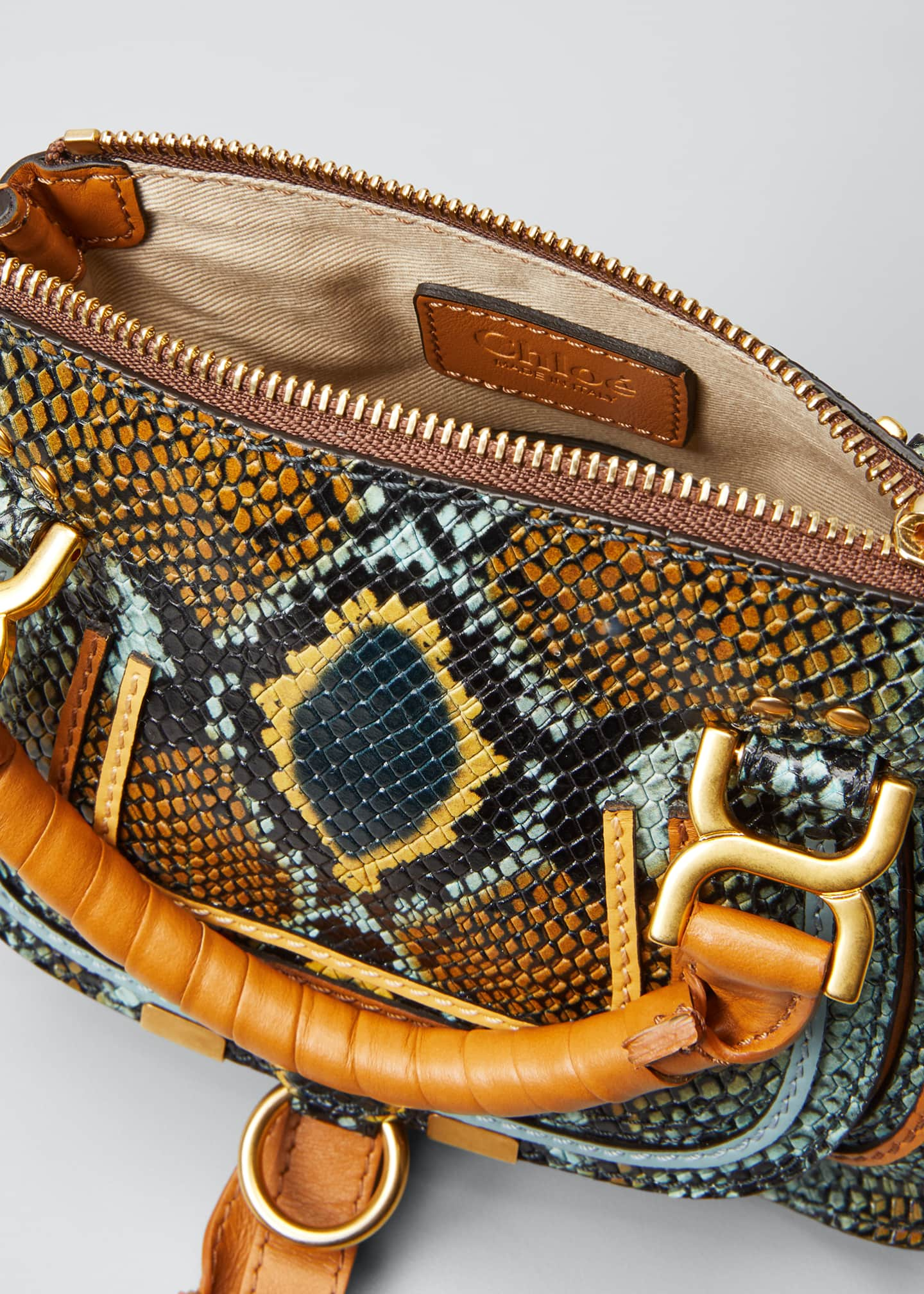 Image 4 of 5: Marcie Mini Python-Embossed Double-Carry Satchel Bag