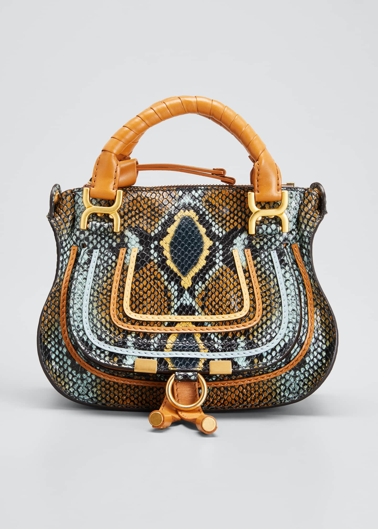 Image 1 of 5: Marcie Mini Python-Embossed Double-Carry Satchel Bag