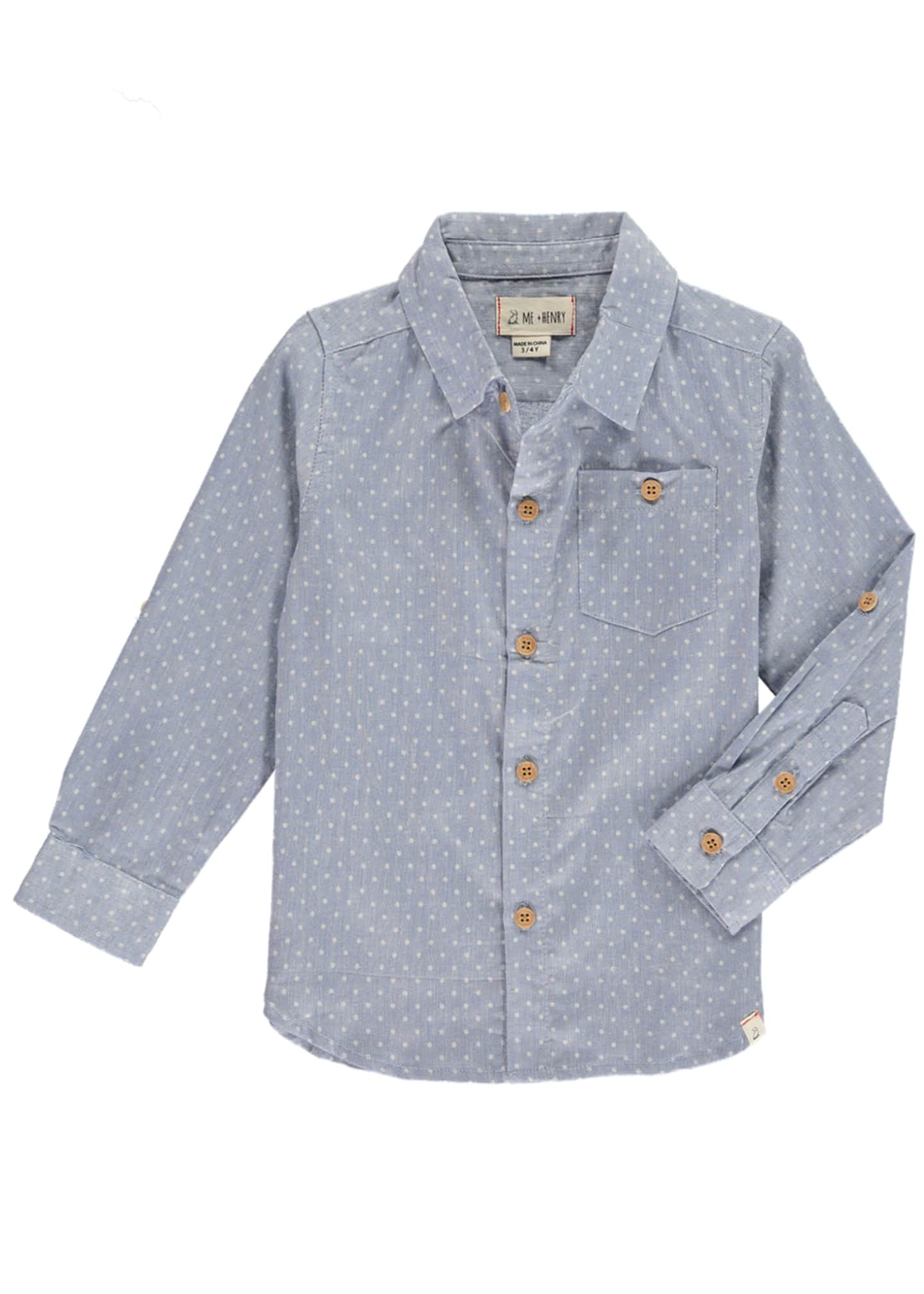 Me & Henry Spotted Woven Collared Shirt w/