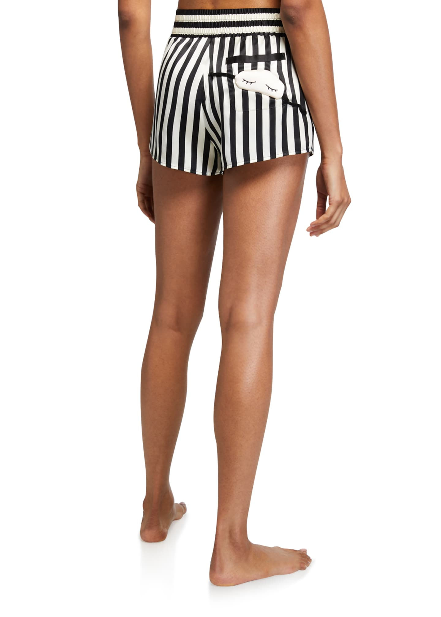 Image 2 of 3: Corey Mini Mask Striped Silk Shorts