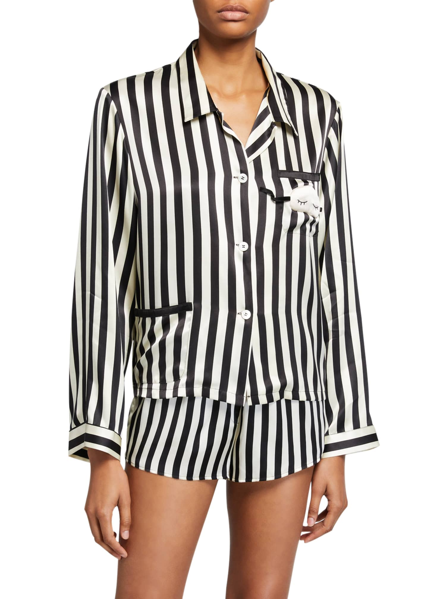 Image 3 of 3: Corey Mini Mask Striped Silk Shorts