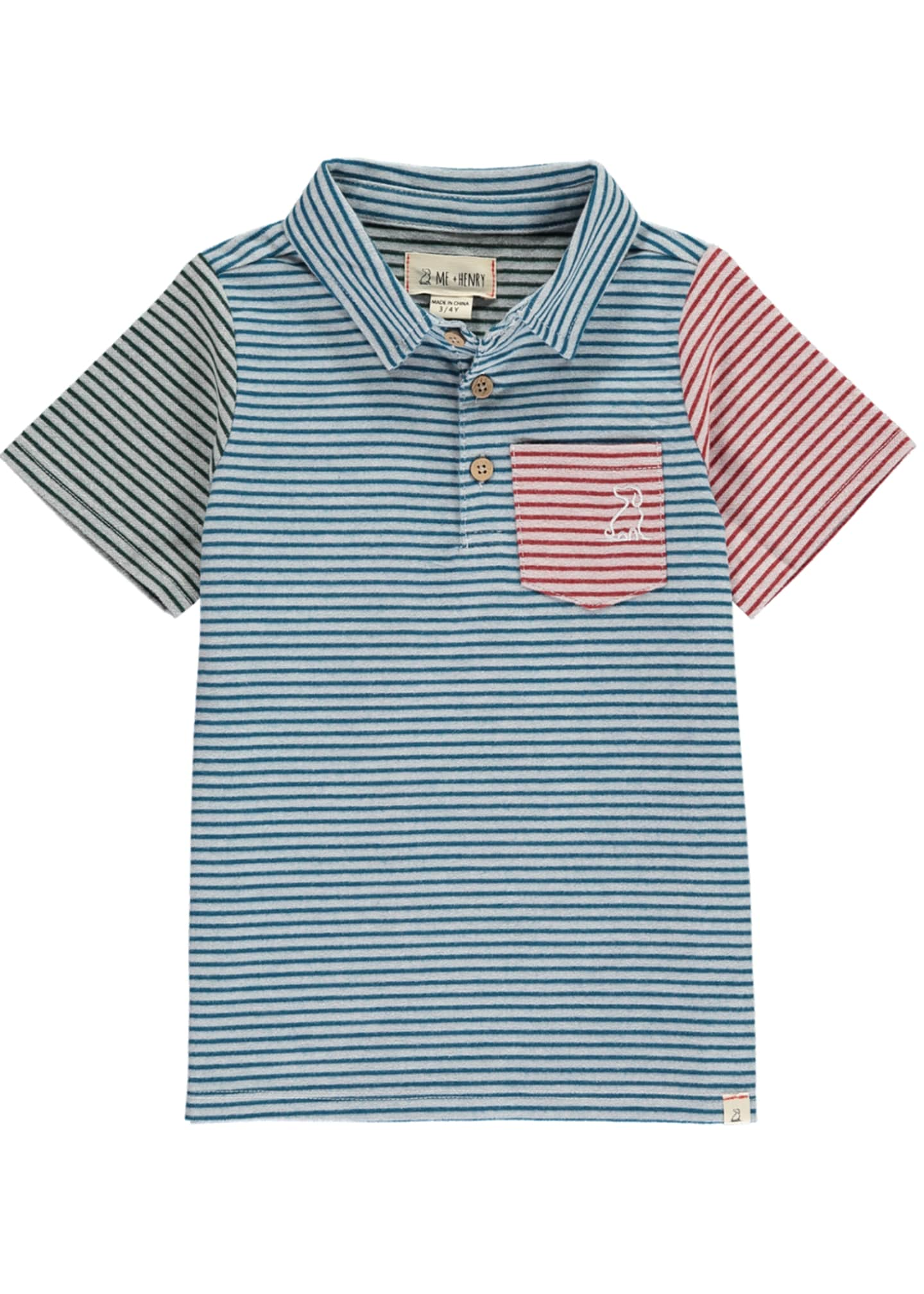 Me & Henry Colorblock Striped Woven Polo w/