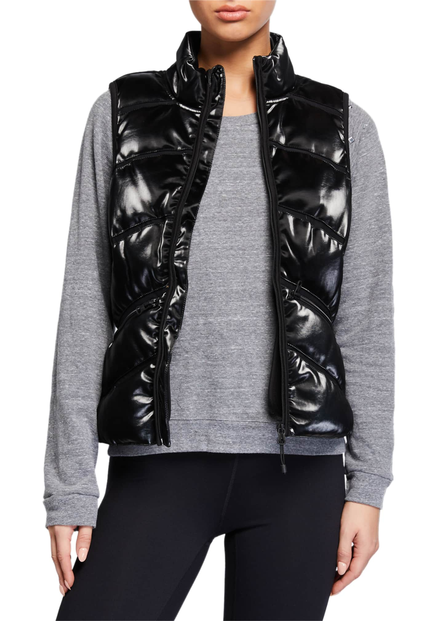 Blanc Noir Freestyle Mesh Inset Puffer Vest