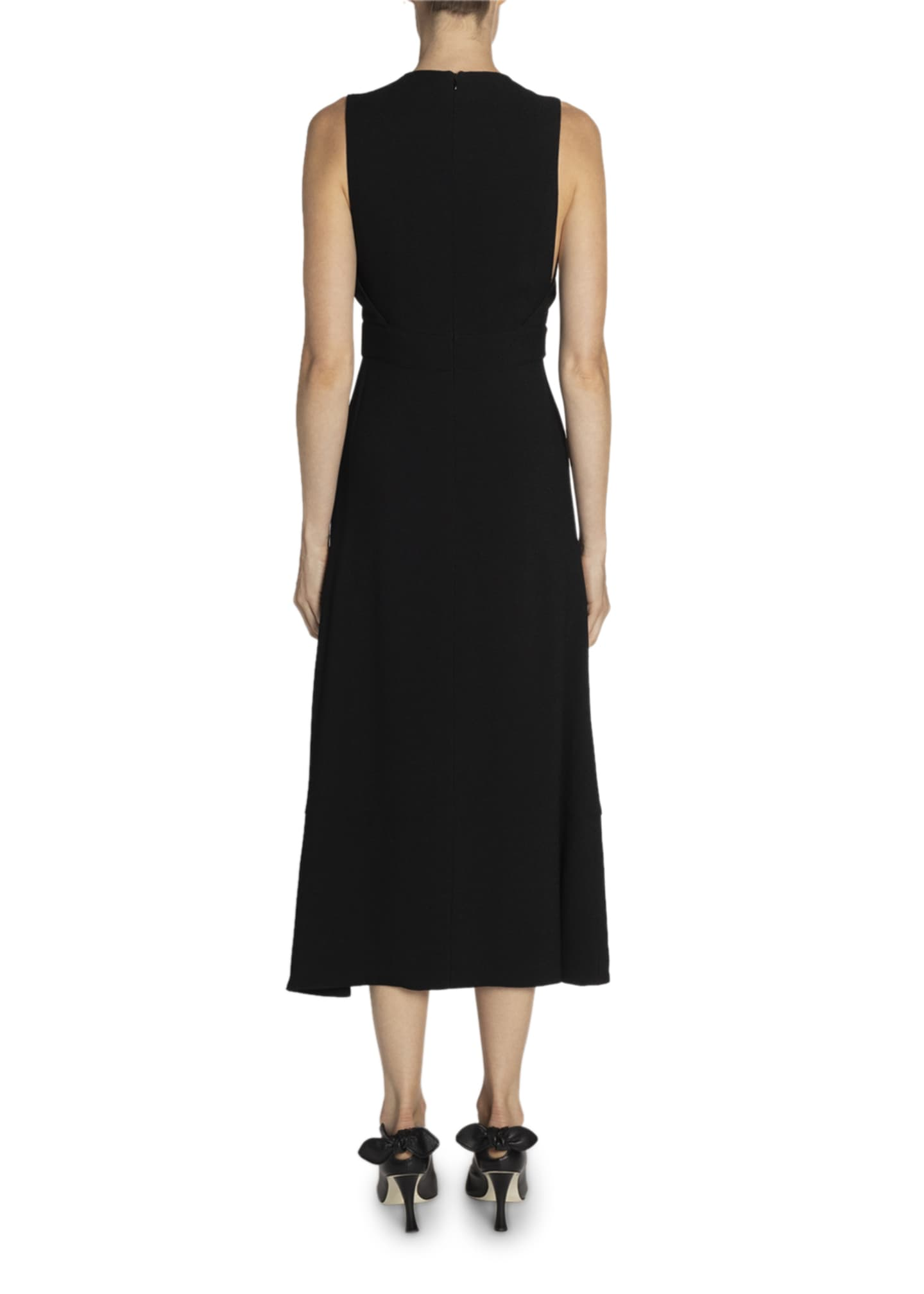 Image 2 of 3: Sleeveless Barbell-Front Midi Dress