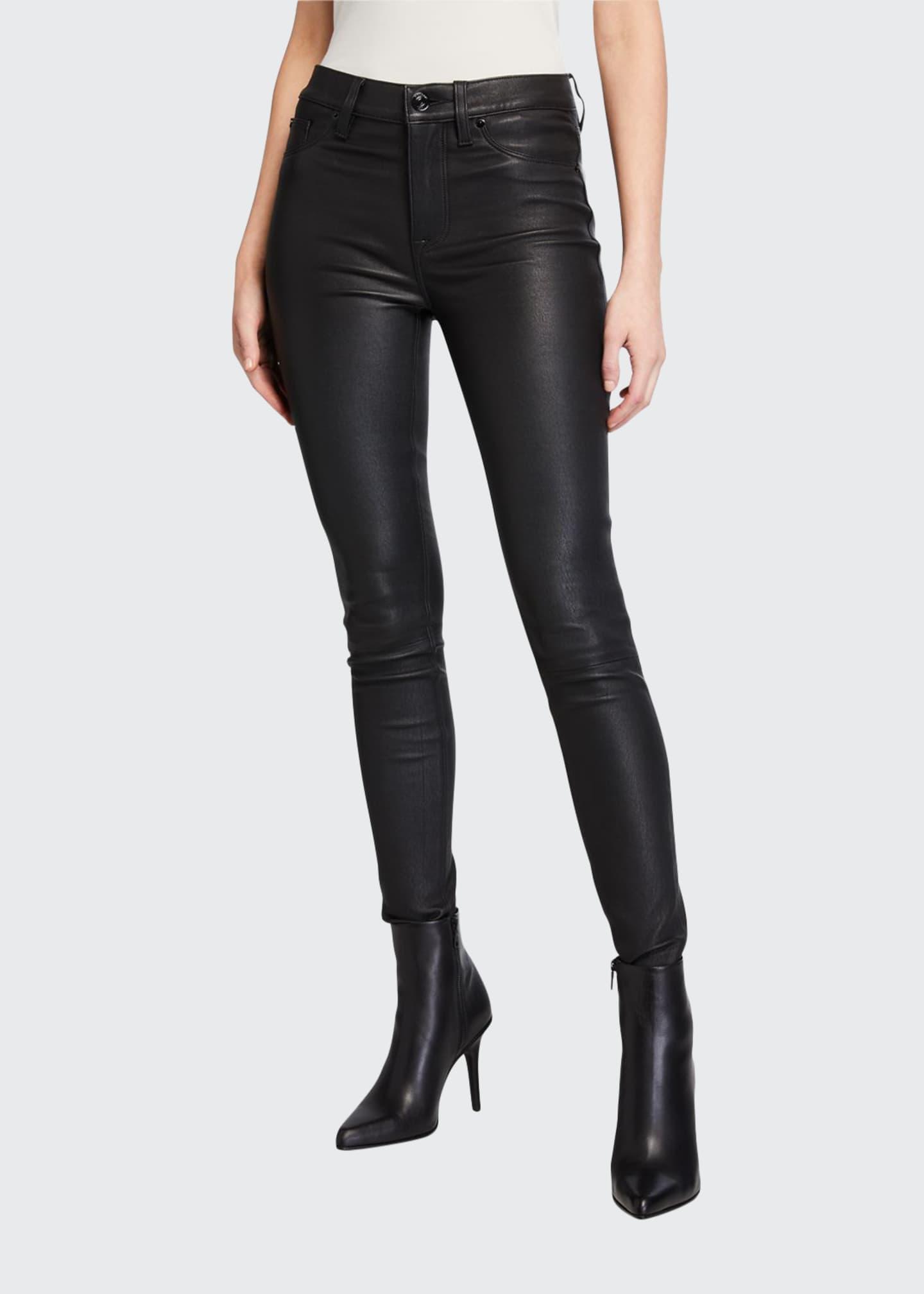 Hudson Barbara High-Rise Super Skinny Leather Pants
