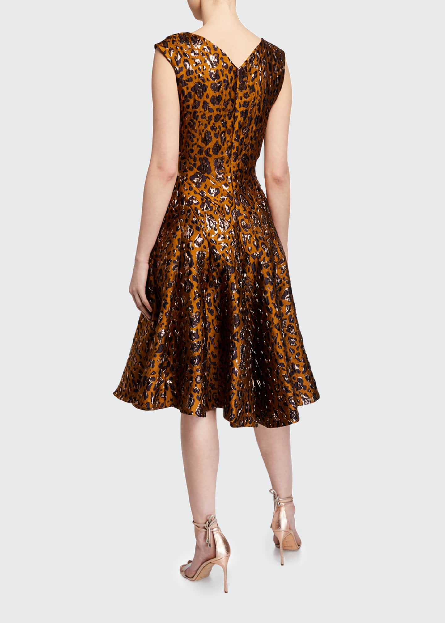 Image 2 of 2: Leopard-Print Fit & Flare Cocktail Dress