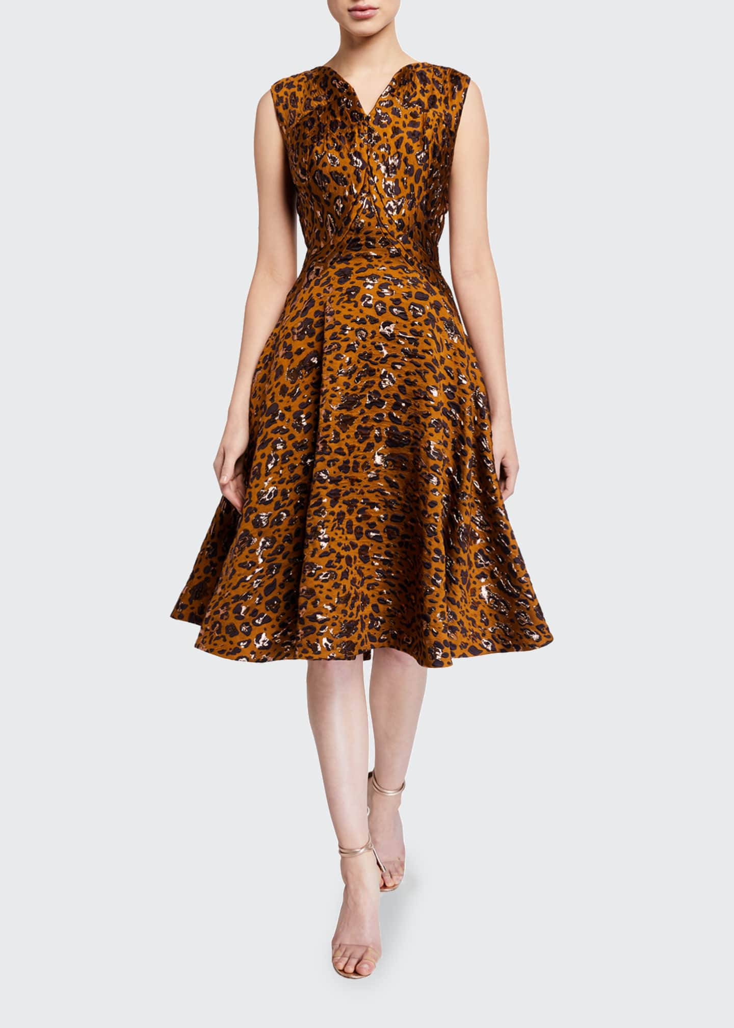 Image 1 of 2: Leopard-Print Fit & Flare Cocktail Dress