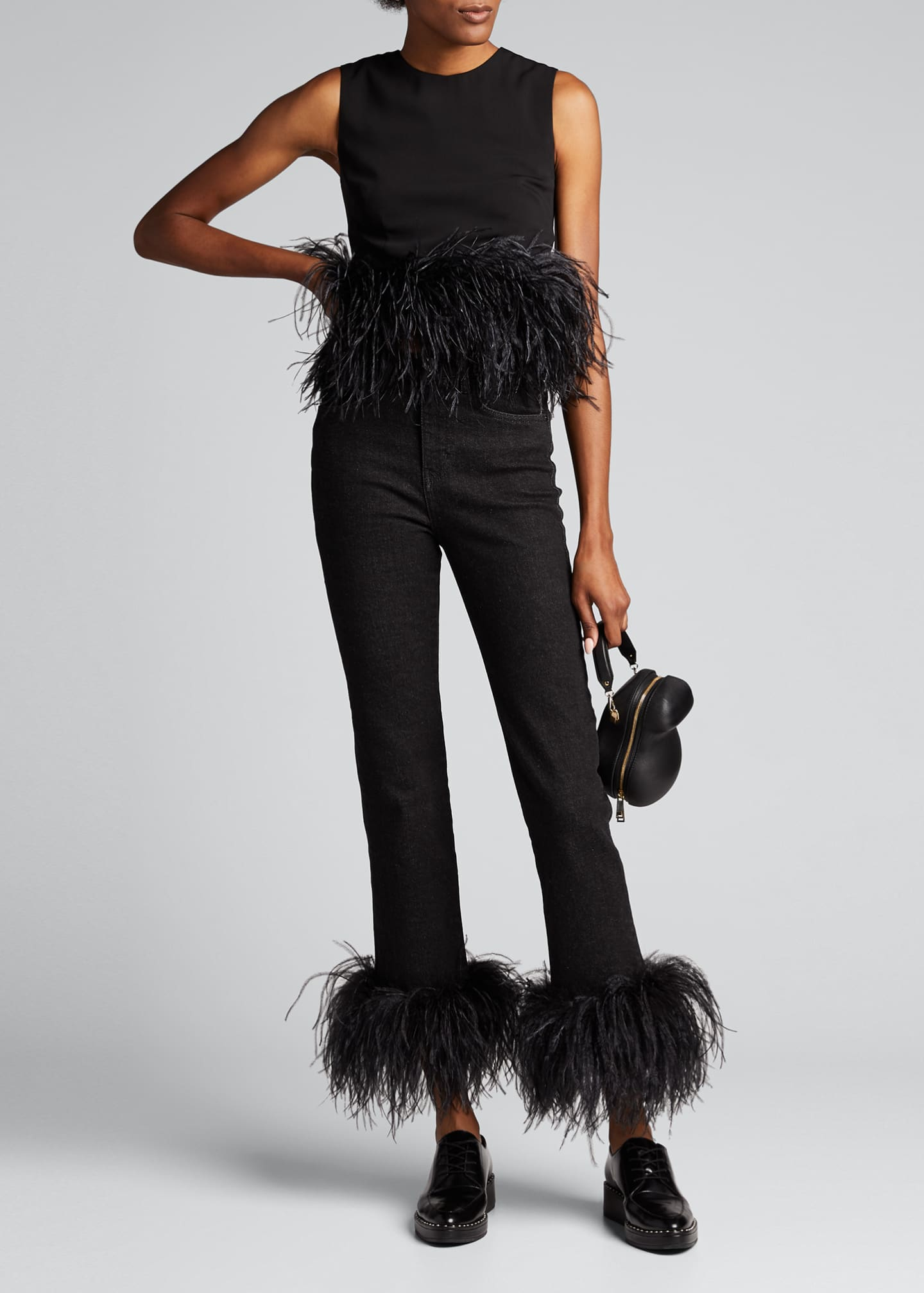 16ARLINGTON Straight-Leg Ankle Jeans w/ Ostrich Feathers