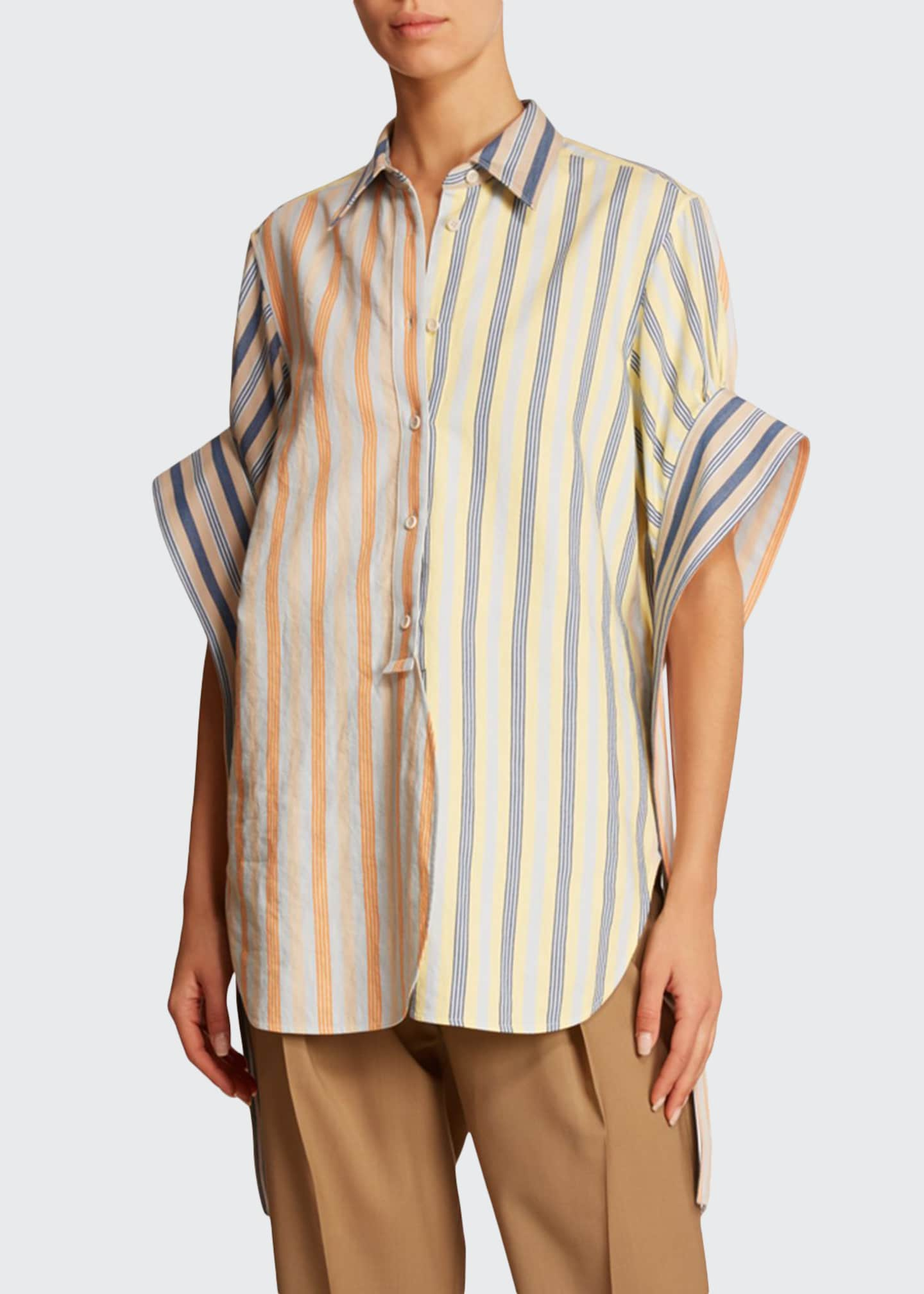 JW Anderson Exaggerated-Sleeve Striped Cotton Shirt