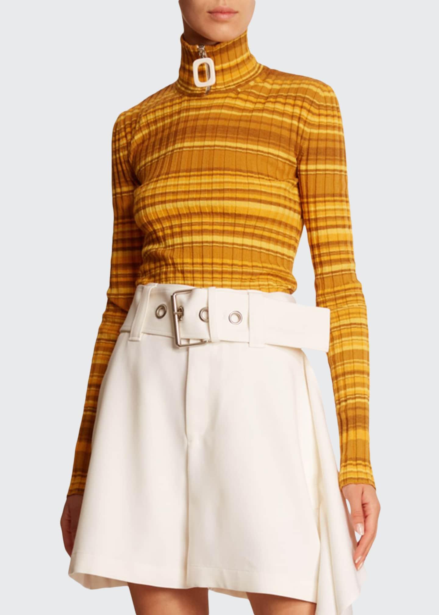 JW Anderson Striped Wool Zip-Turtleneck Sweater