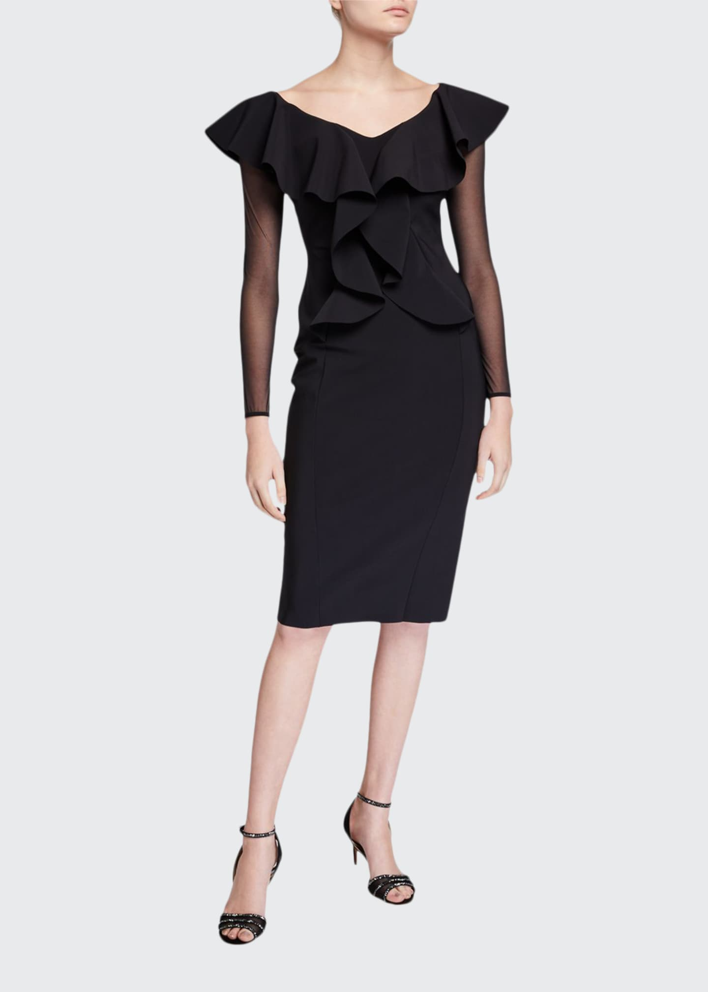 Chiara Boni La Petite Robe V-Neck Sheer Sleeve
