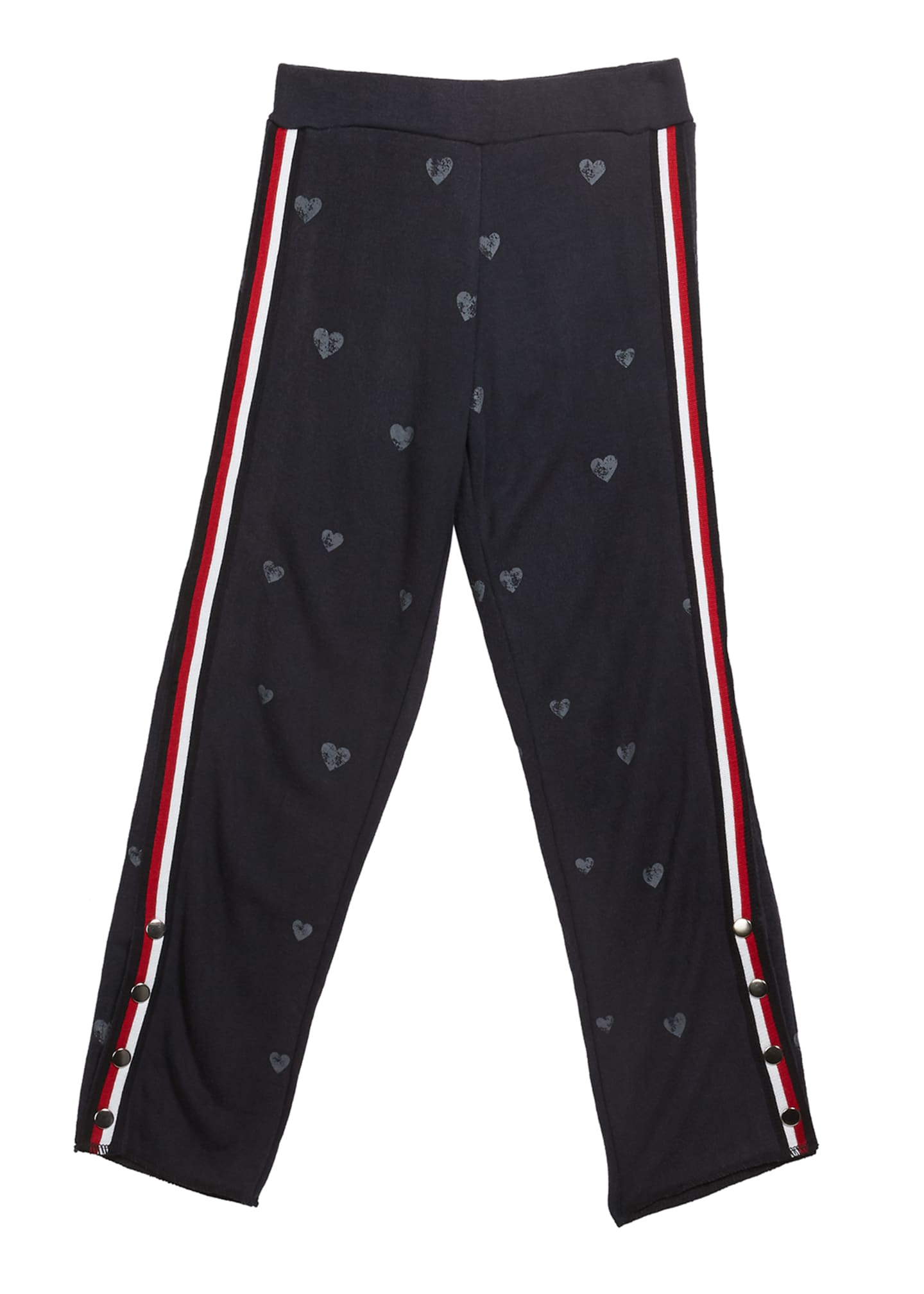Image 1 of 1: Girl's Enzyme Wash Heart Print Sweatpants, Size S-XL