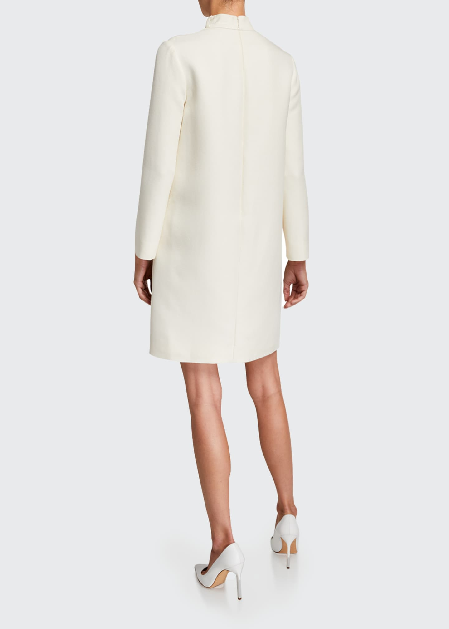 Image 2 of 2: Long-Sleeve Wool Belted-Neck Shift Dress