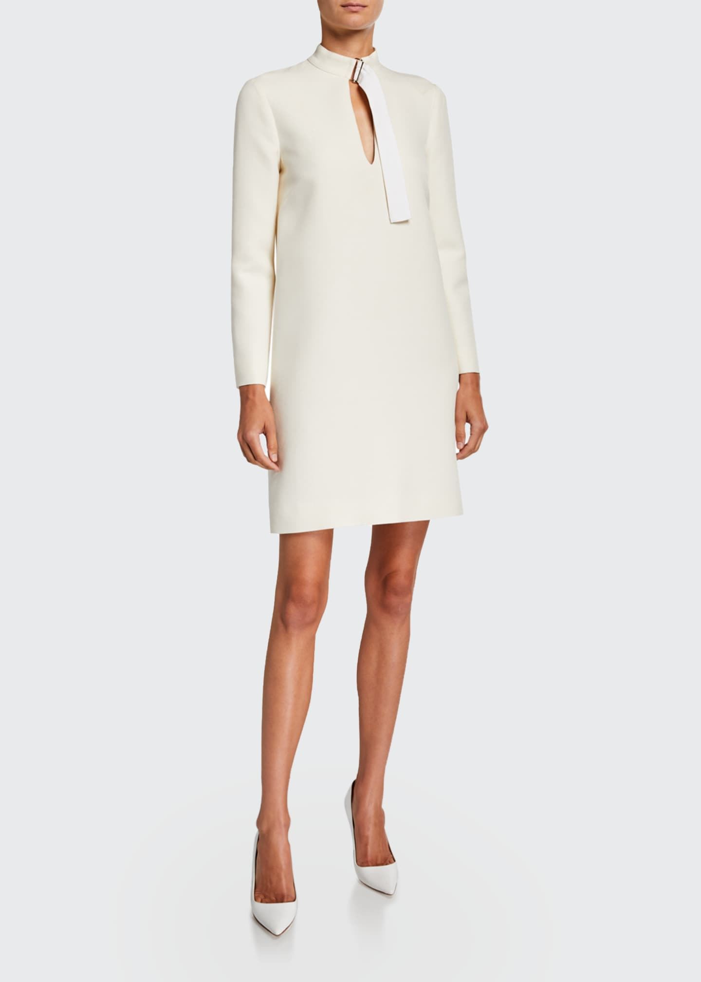 Image 1 of 2: Long-Sleeve Wool Belted-Neck Shift Dress