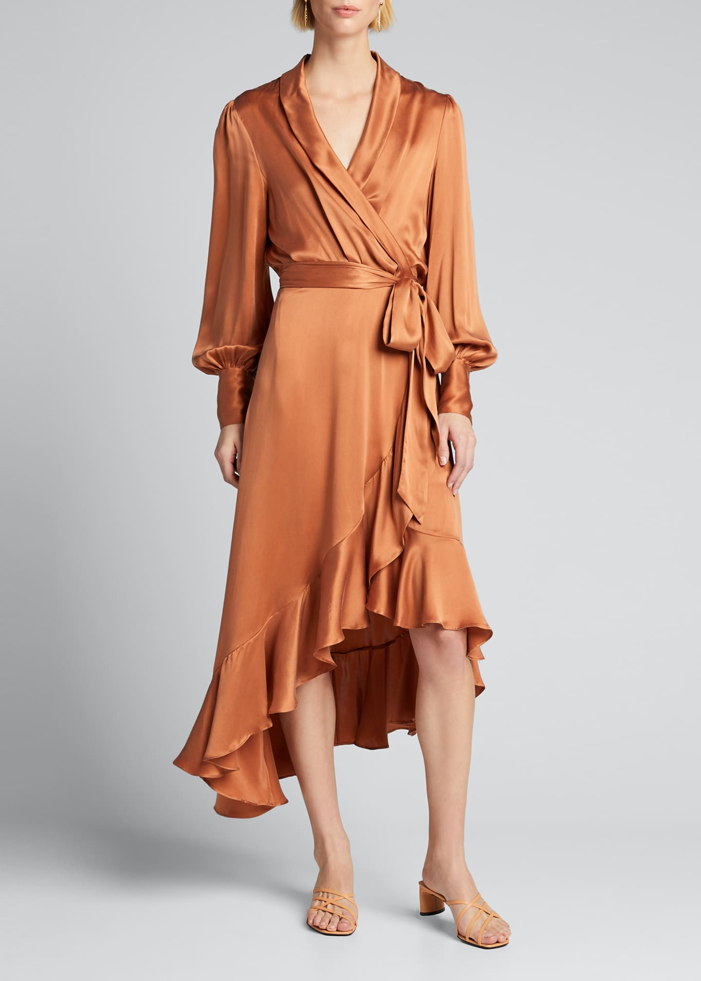 Image 3 of 5: Silk Charmeuse Wrap Dress