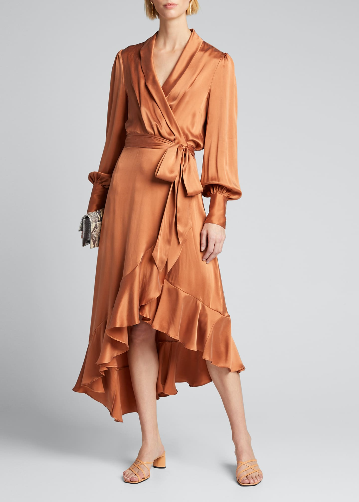 Image 1 of 5: Silk Charmeuse Wrap Dress