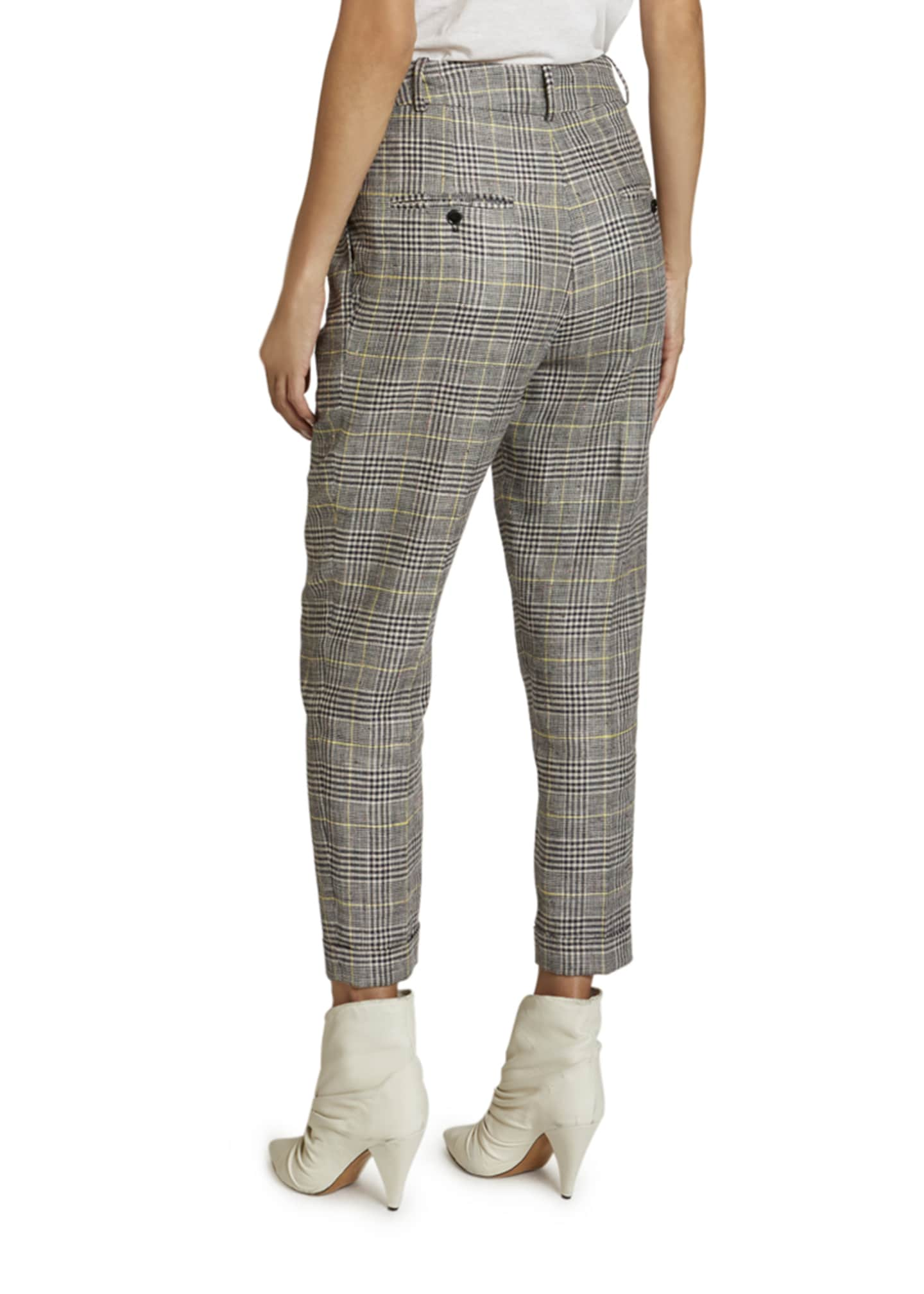 Image 2 of 2: Checked Linen-Silk Slim-Leg Crop Pants