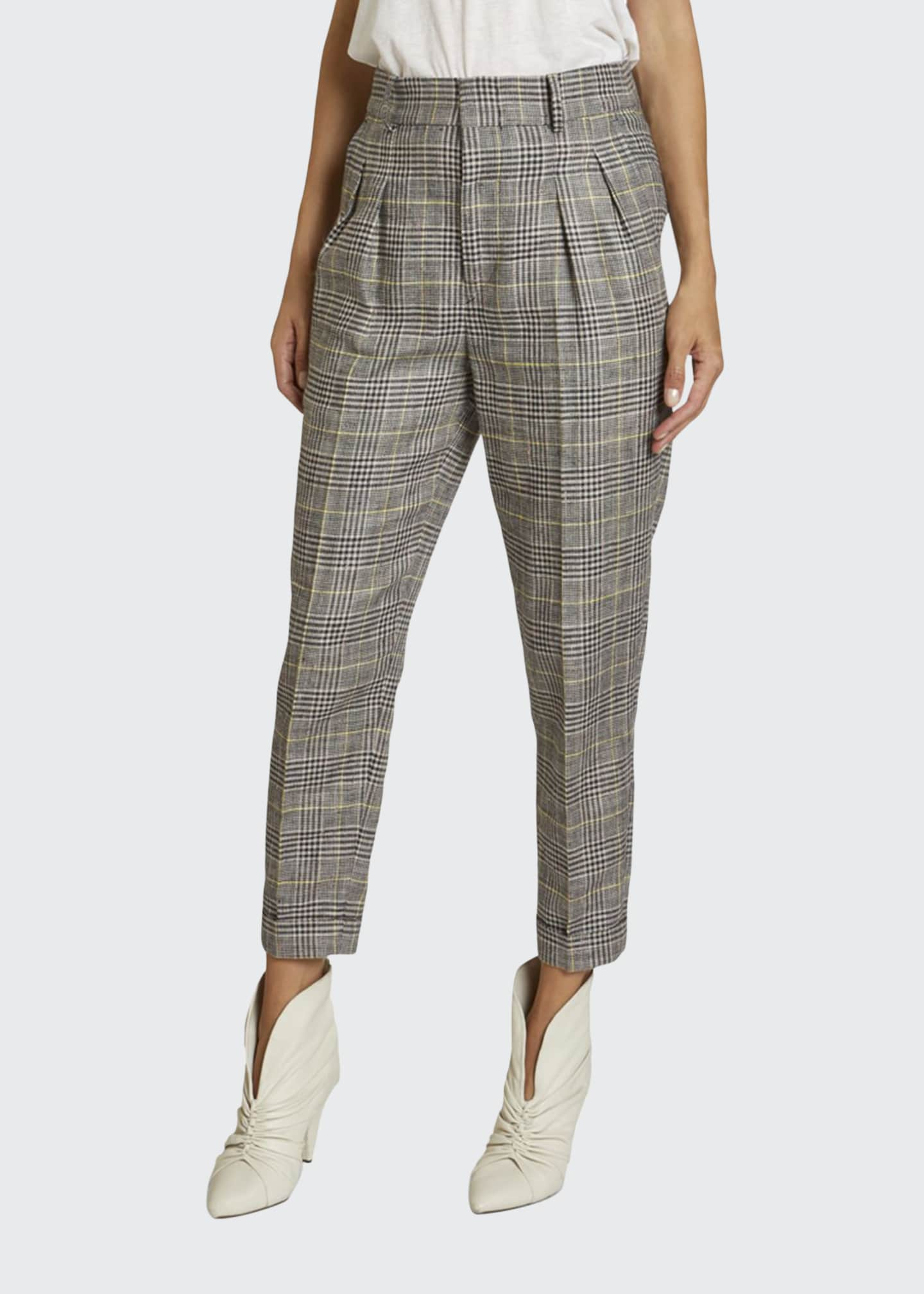 Isabel Marant Checked Linen-Silk Slim-Leg Crop Pants