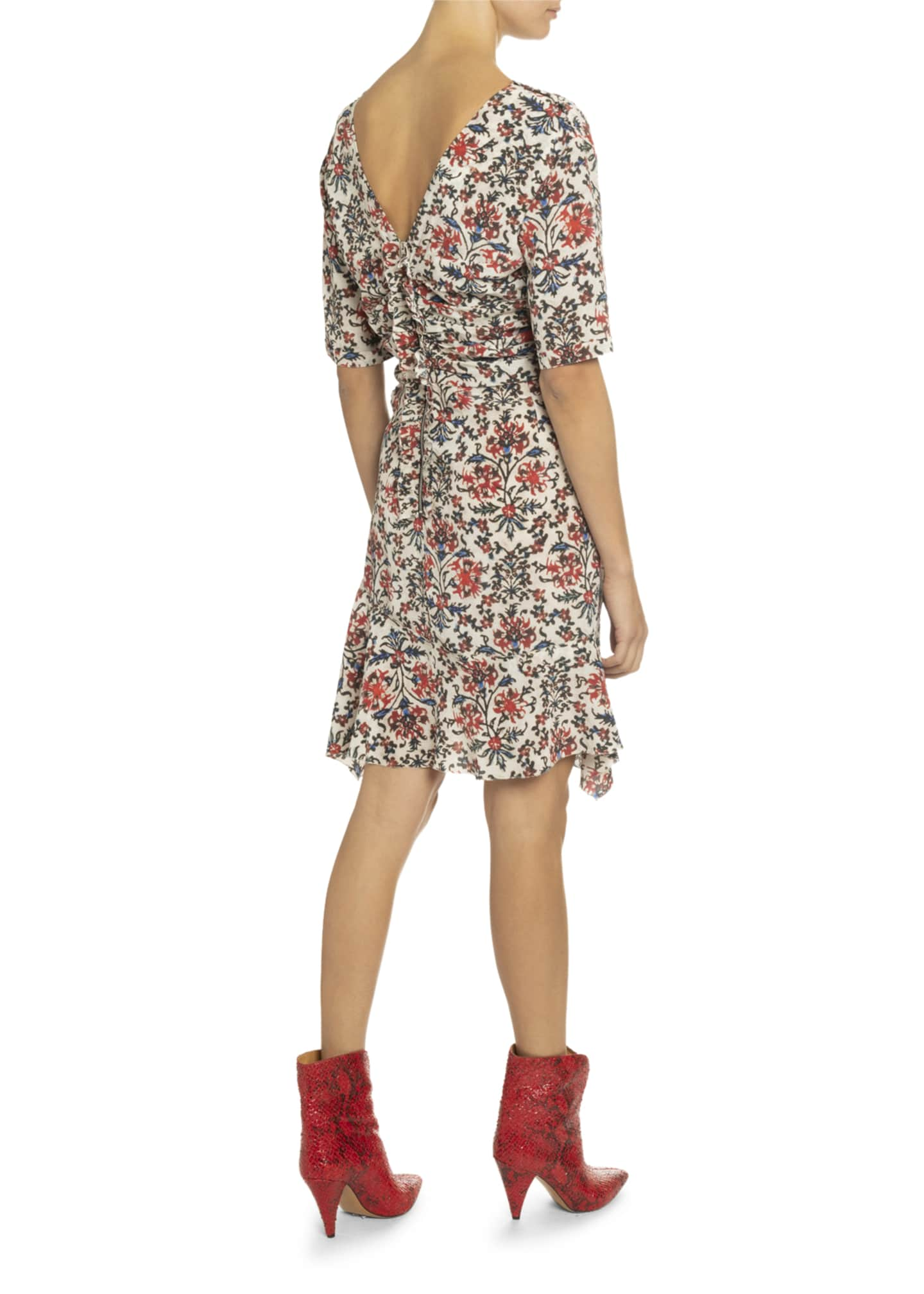 Image 2 of 2: Elbow-Sleeve Ruched Floral Print Dress