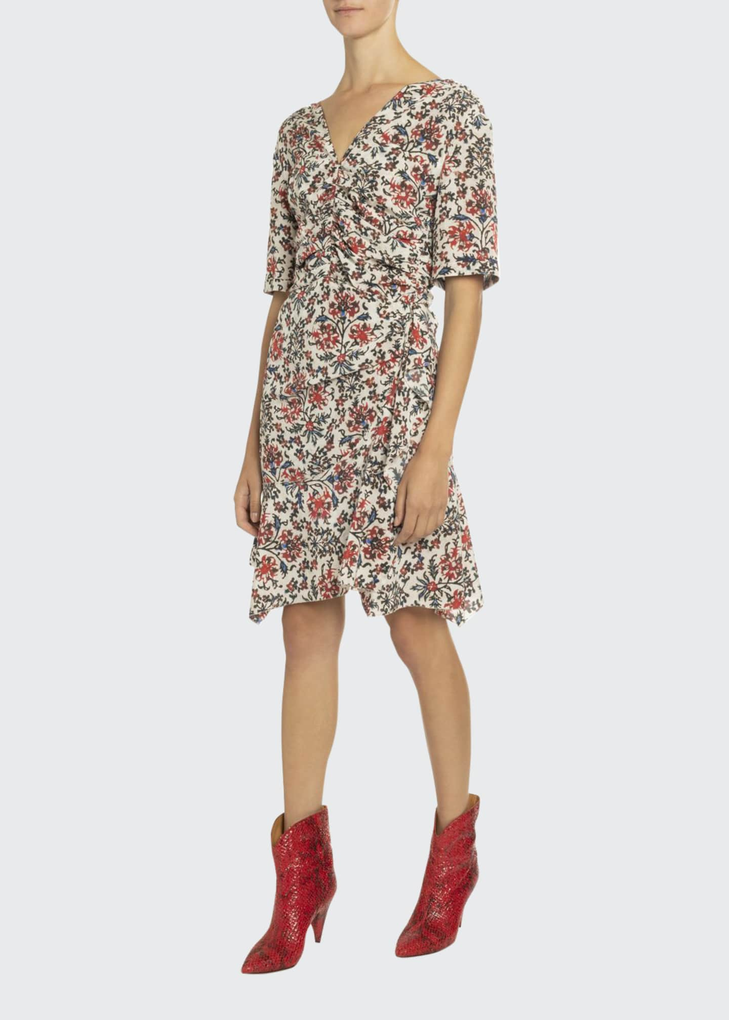 Isabel Marant Elbow-Sleeve Ruched Floral Print Dress