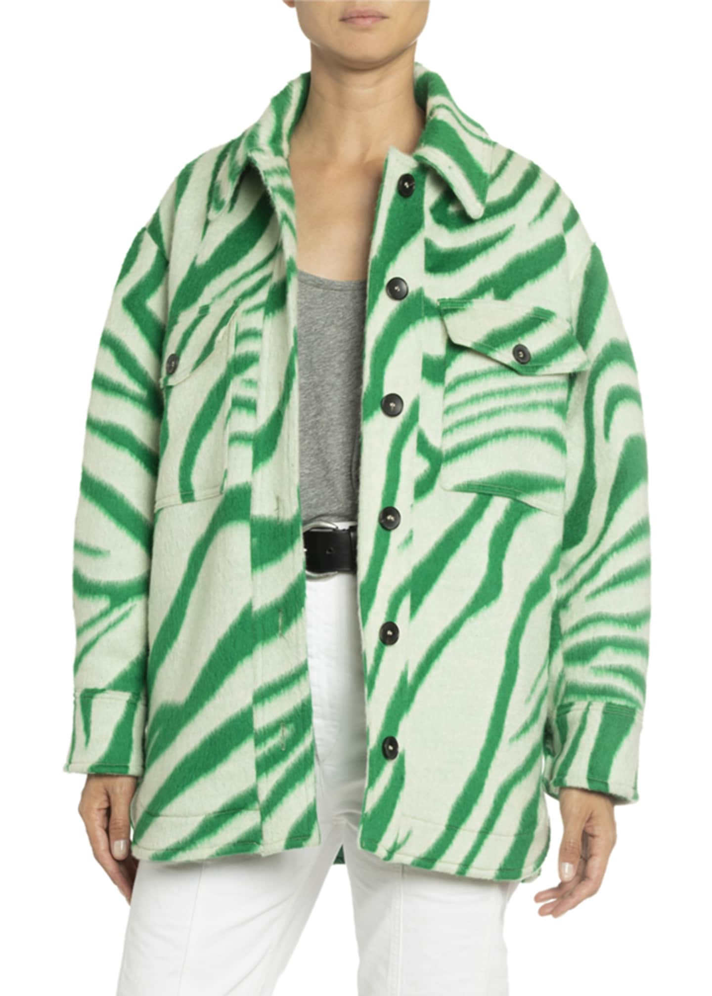 Isabel Marant Tiger-Striped Wool Oversized Shirt