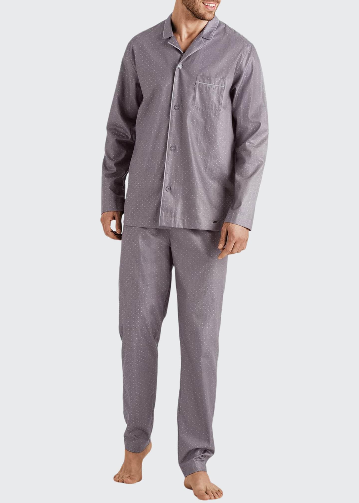 Hanro Men's Maxim Pin-Dot Cotton Pajama Set
