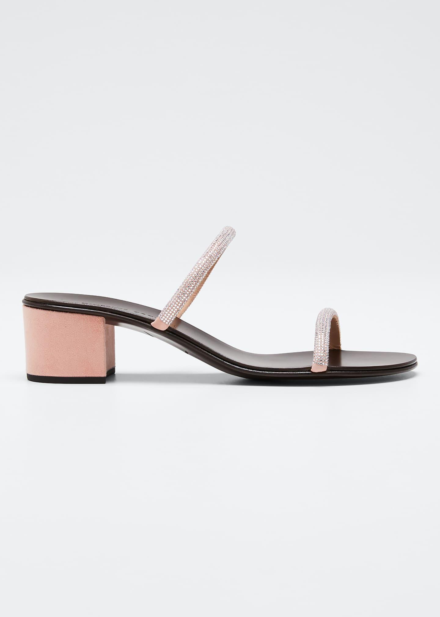 Giuseppe Zanotti Suede & Crystal Slide Sandals
