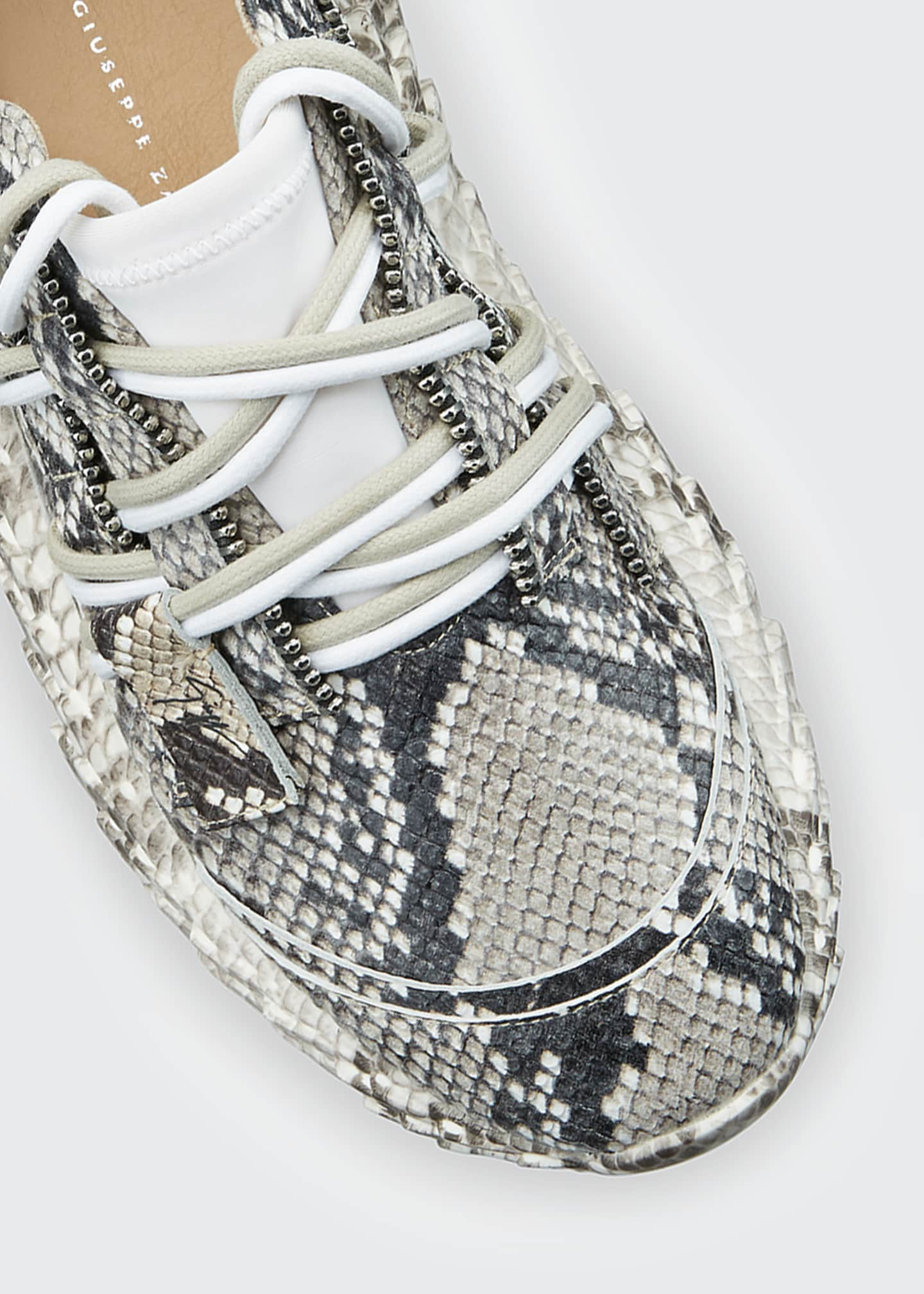 Image 4 of 4: Python-Printed Trainer Sneakers