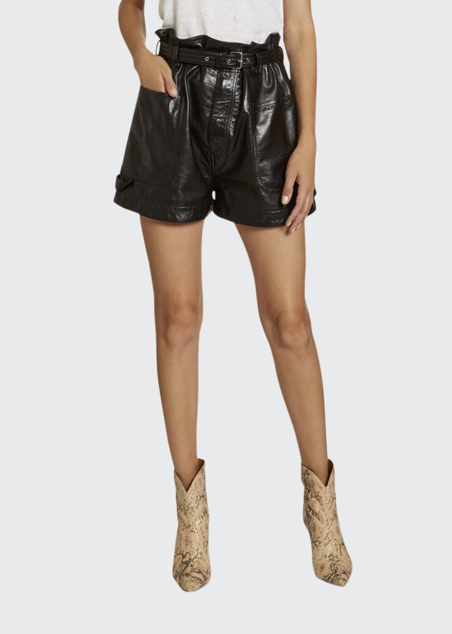 Isabel Marant Leather High-Rise Shorts