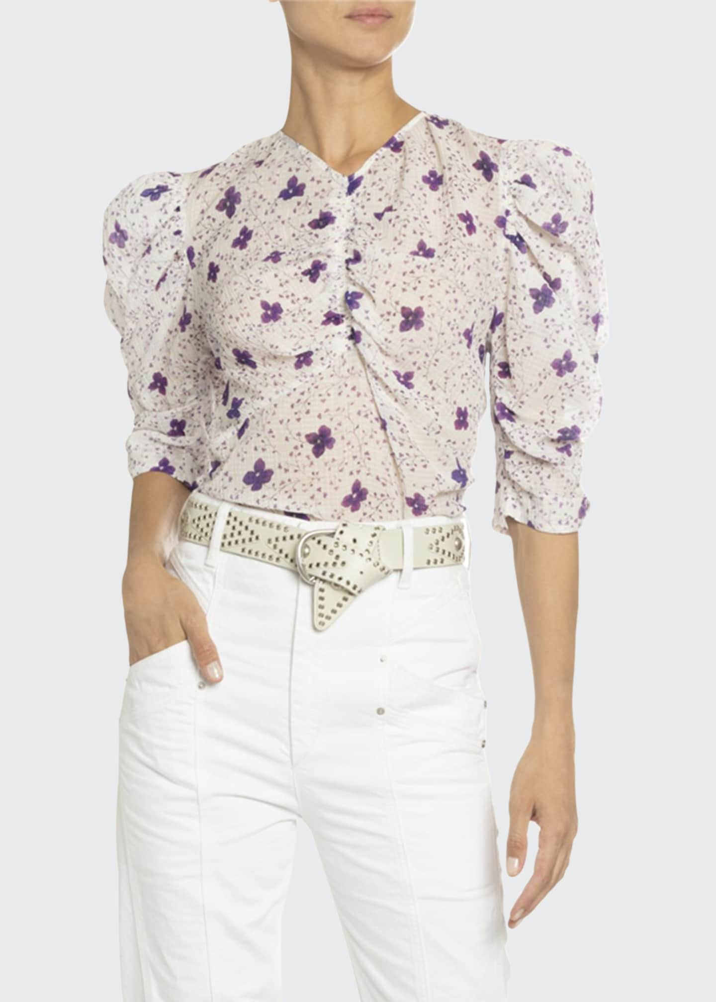 Isabel Marant 3/4-Sleeve Floral Cotton Tank Top