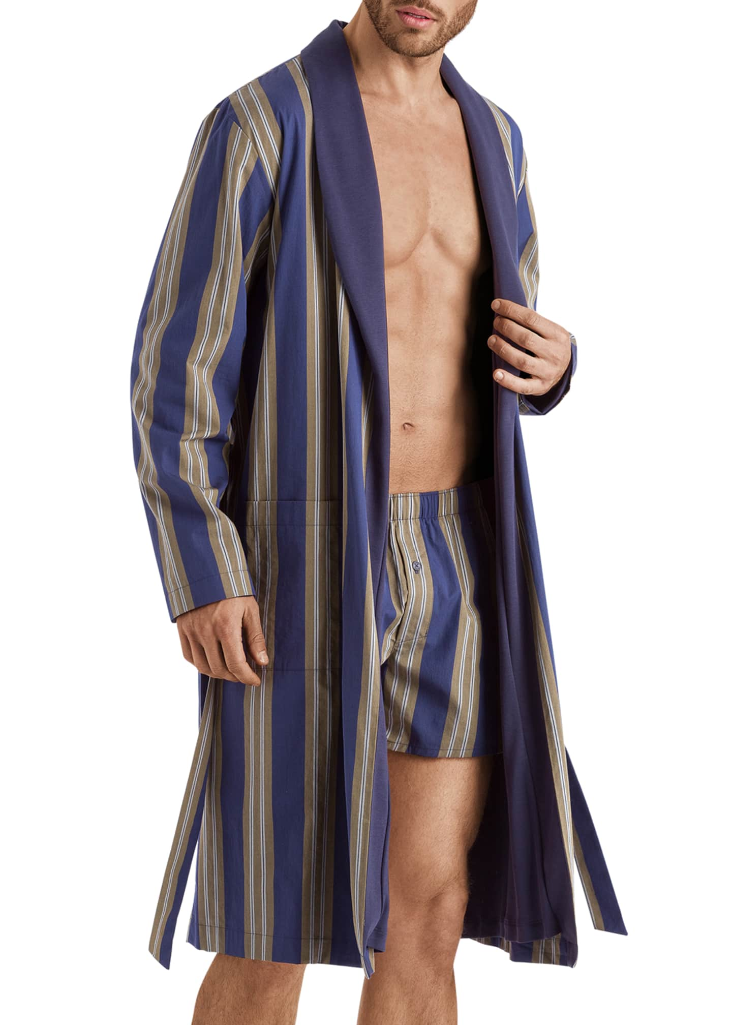 Image 2 of 4: Men's Night & Day Striped Cotton Robe