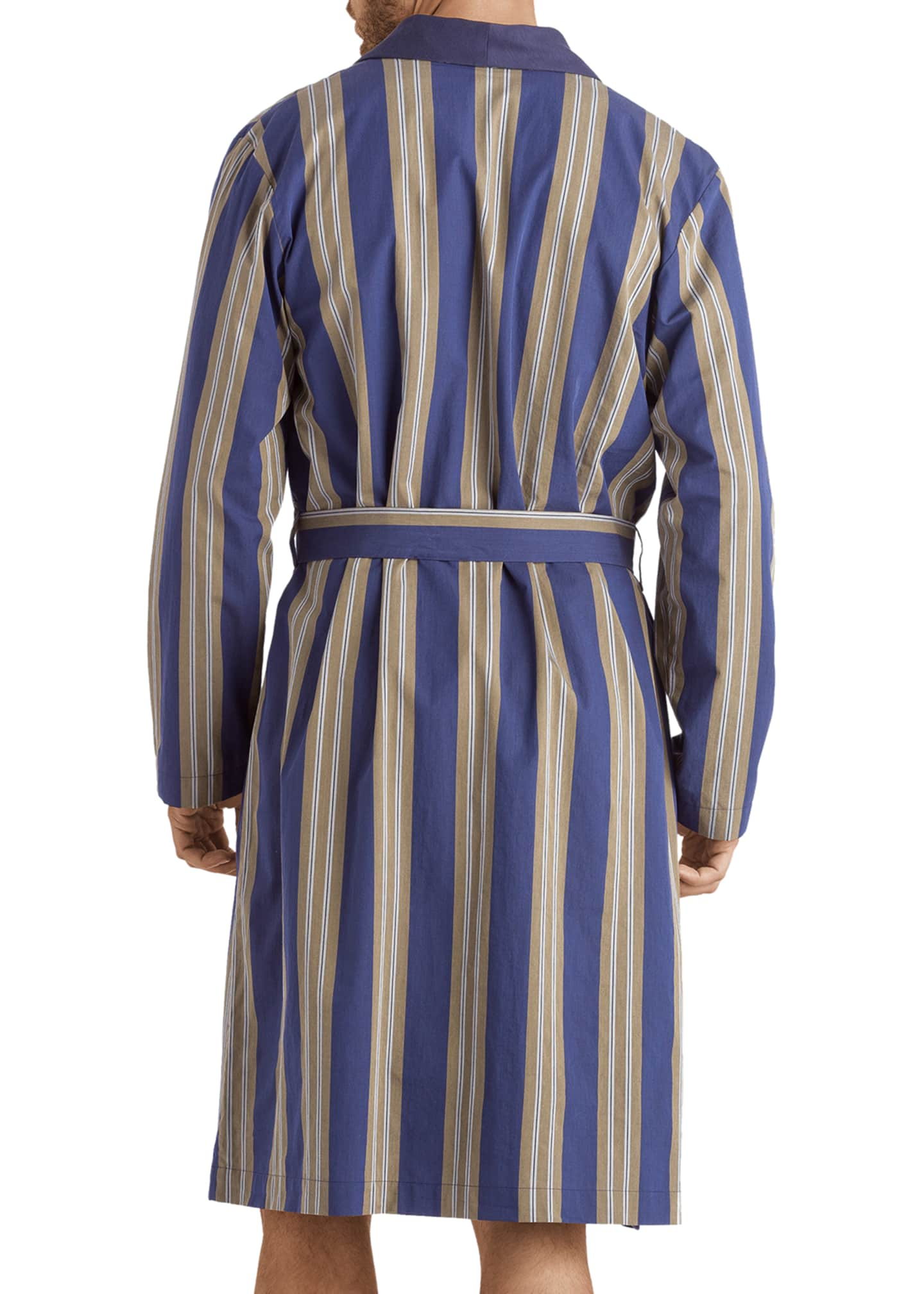 Image 3 of 4: Men's Night & Day Striped Cotton Robe