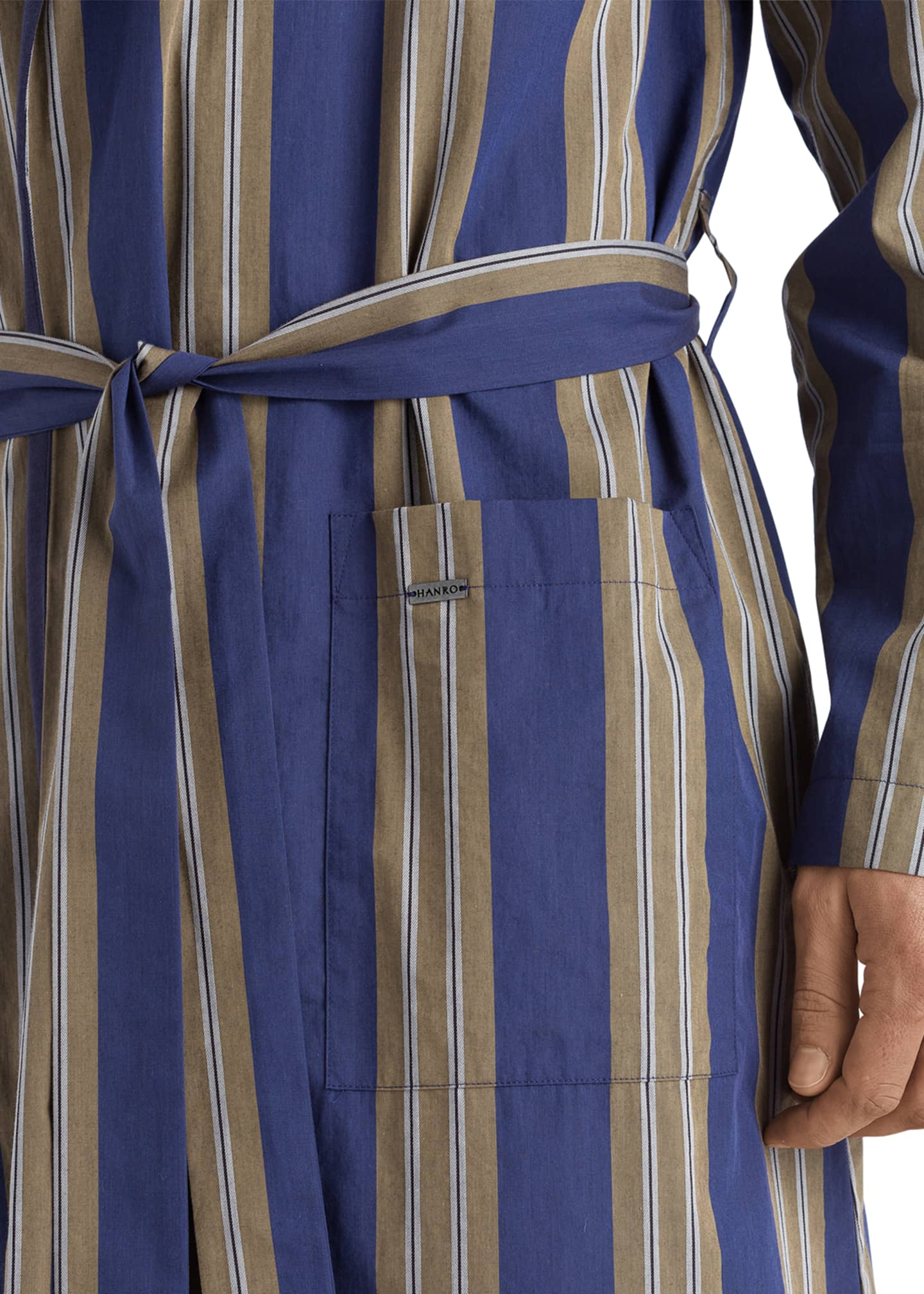 Image 4 of 4: Men's Night & Day Striped Cotton Robe