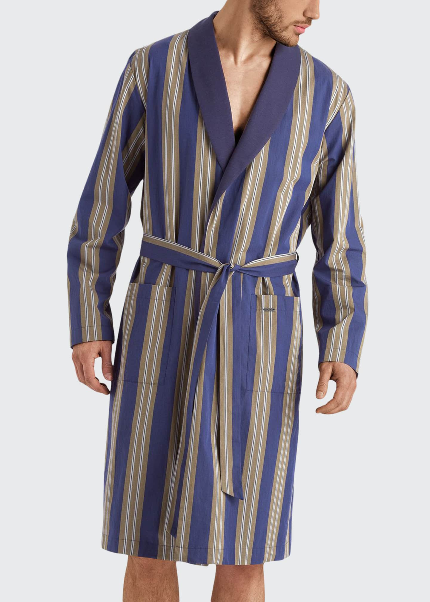 Hanro Men's Night & Day Striped Cotton Robe