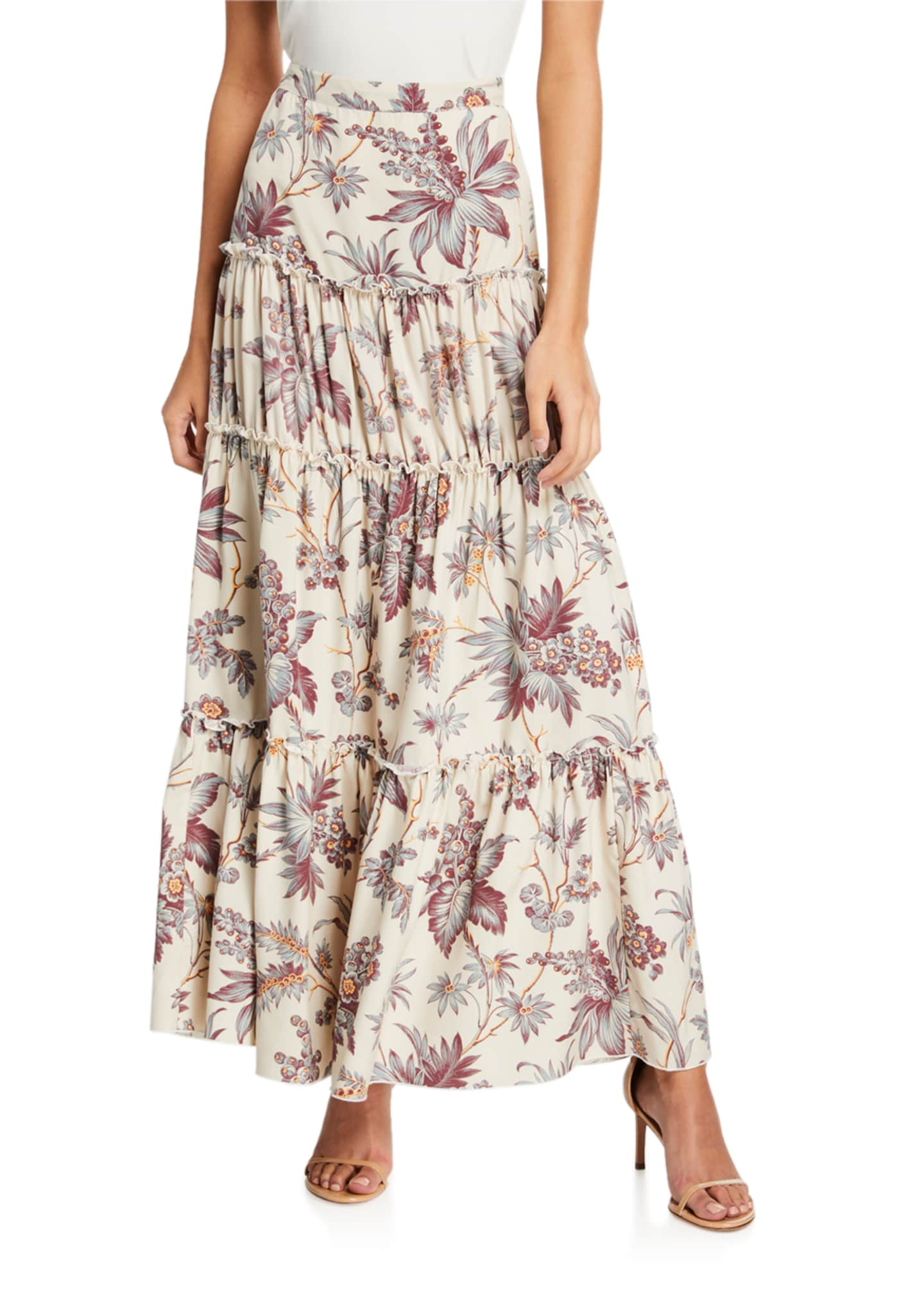 SIR The Label Avery Tiered Floral Maxi Skirt