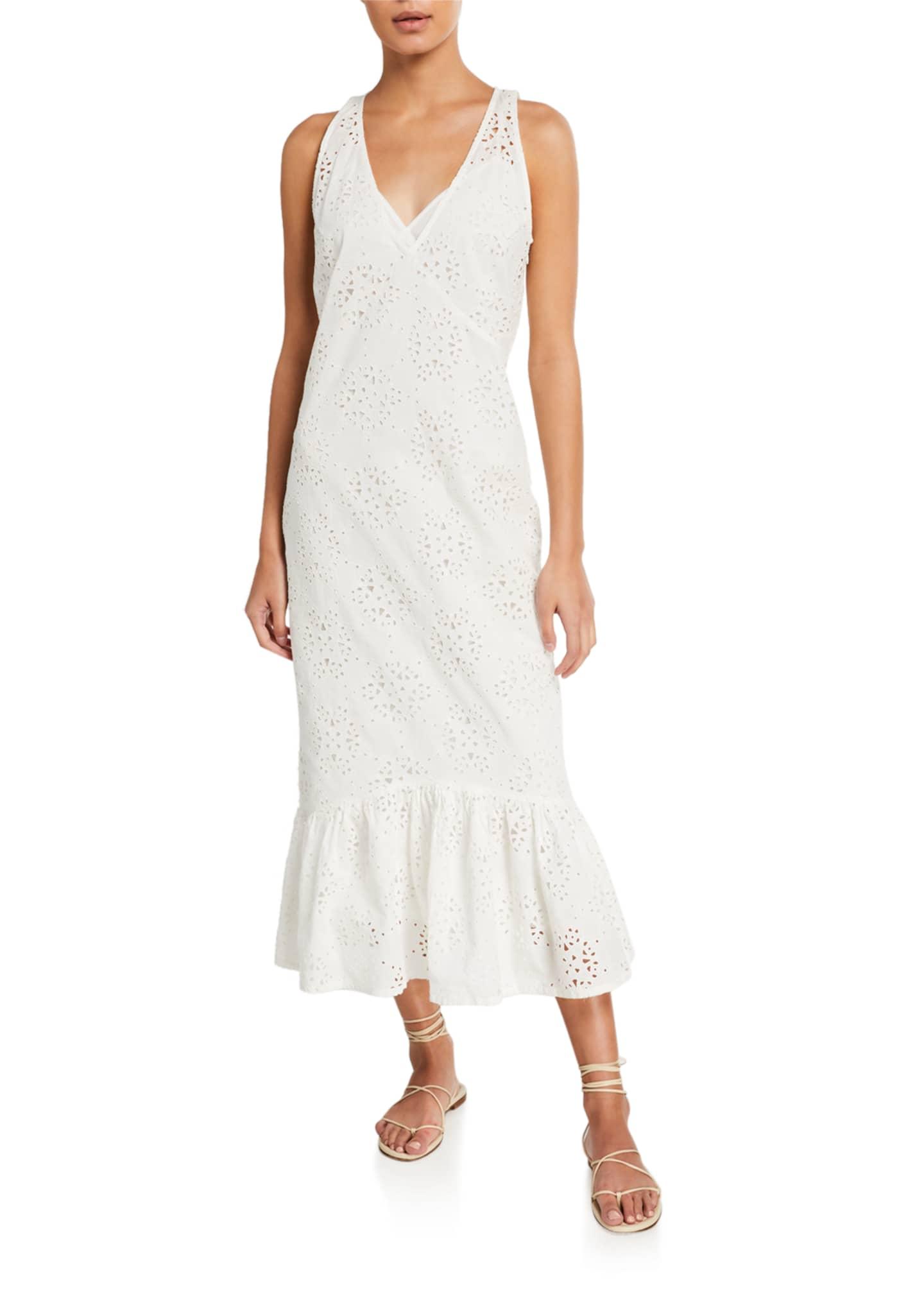 SIR The Label Celeste Flared Eyelet Midi Dress