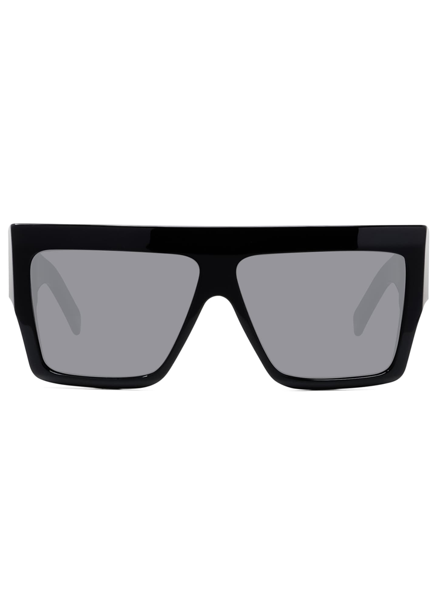 Image 2 of 2: Men's Chunky Rectangle Solid Acetate Sunglasses