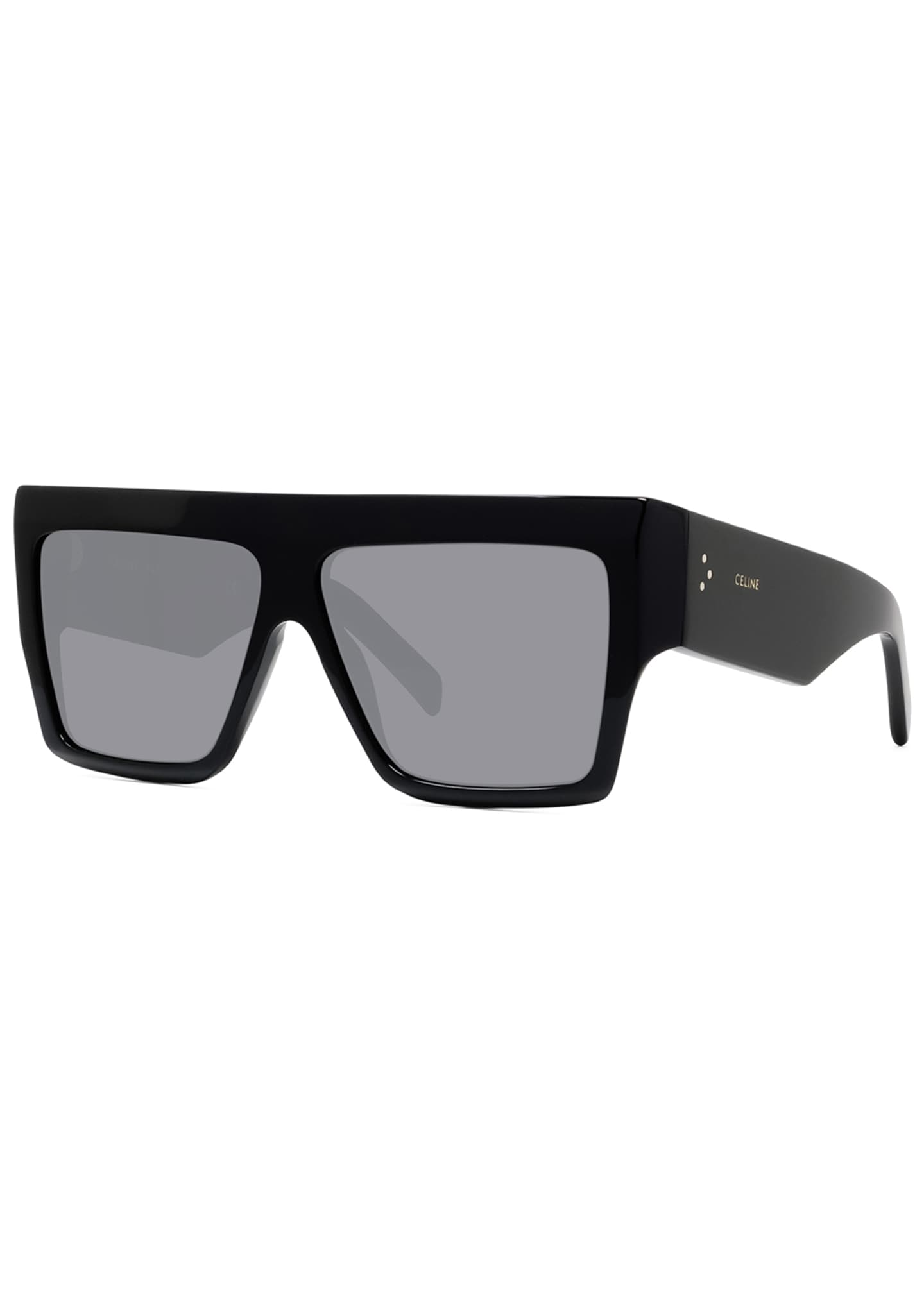 Image 1 of 2: Men's Chunky Rectangle Solid Acetate Sunglasses