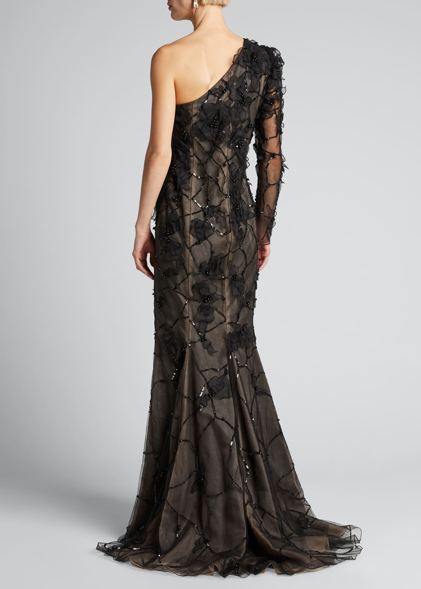 Image 2 of 5: One-Shoulder Embroidered Gown