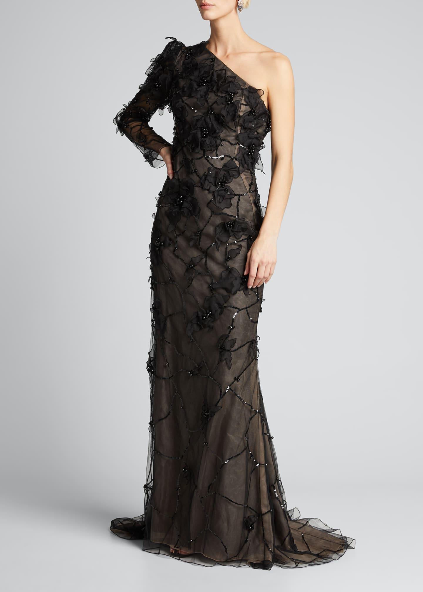 Image 3 of 5: One-Shoulder Embroidered Gown
