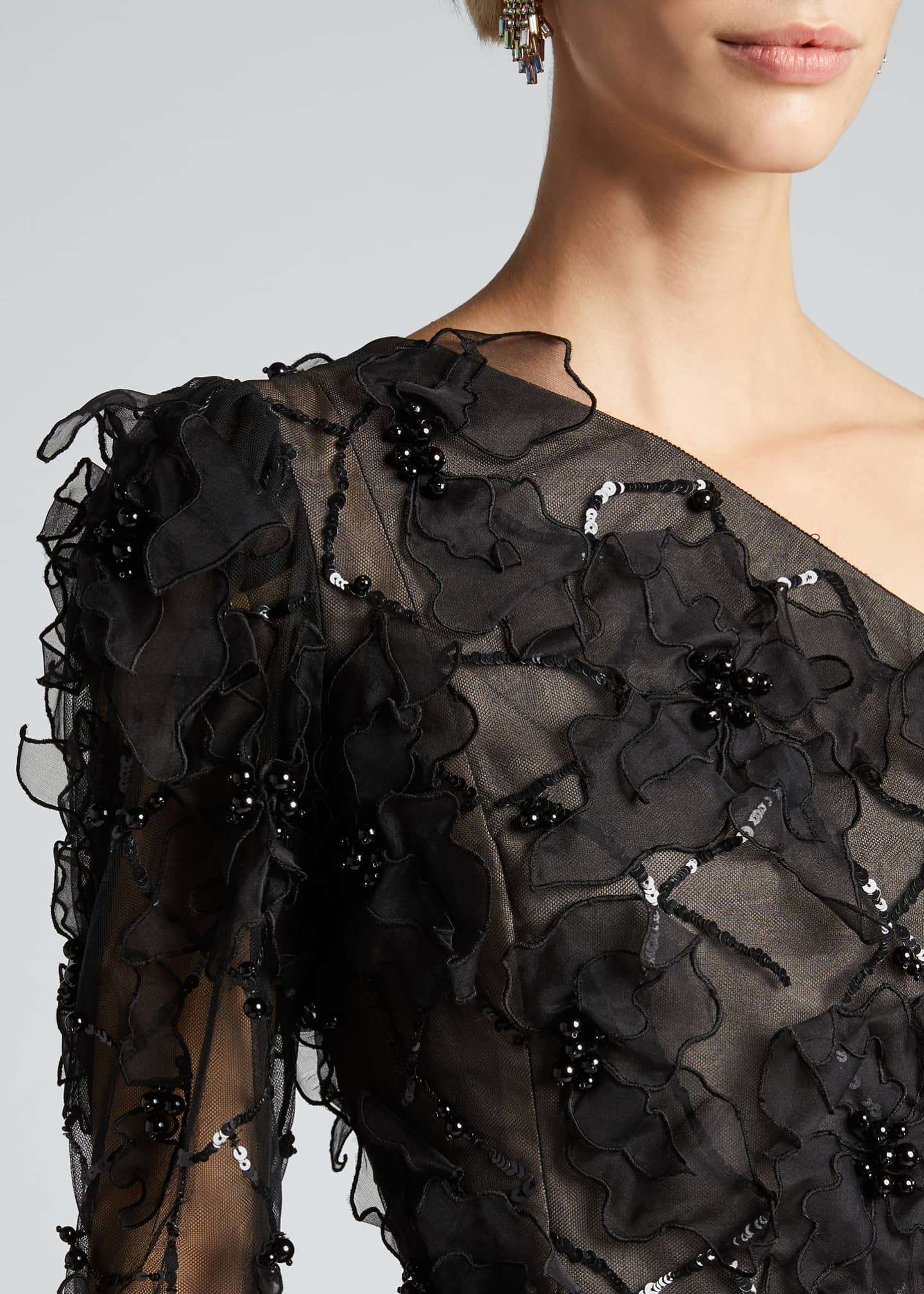 Image 4 of 5: One-Shoulder Embroidered Gown