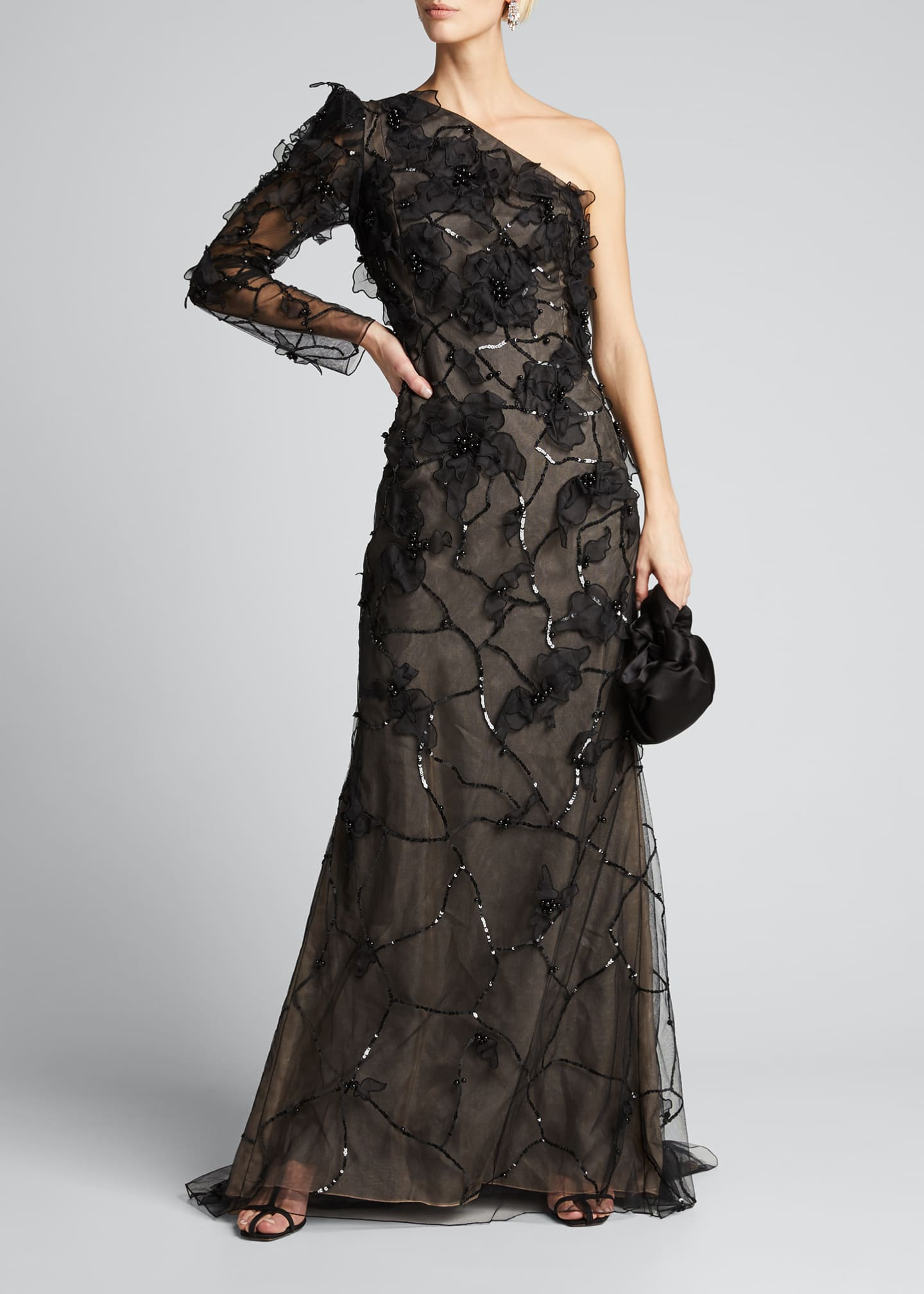 Image 1 of 5: One-Shoulder Embroidered Gown