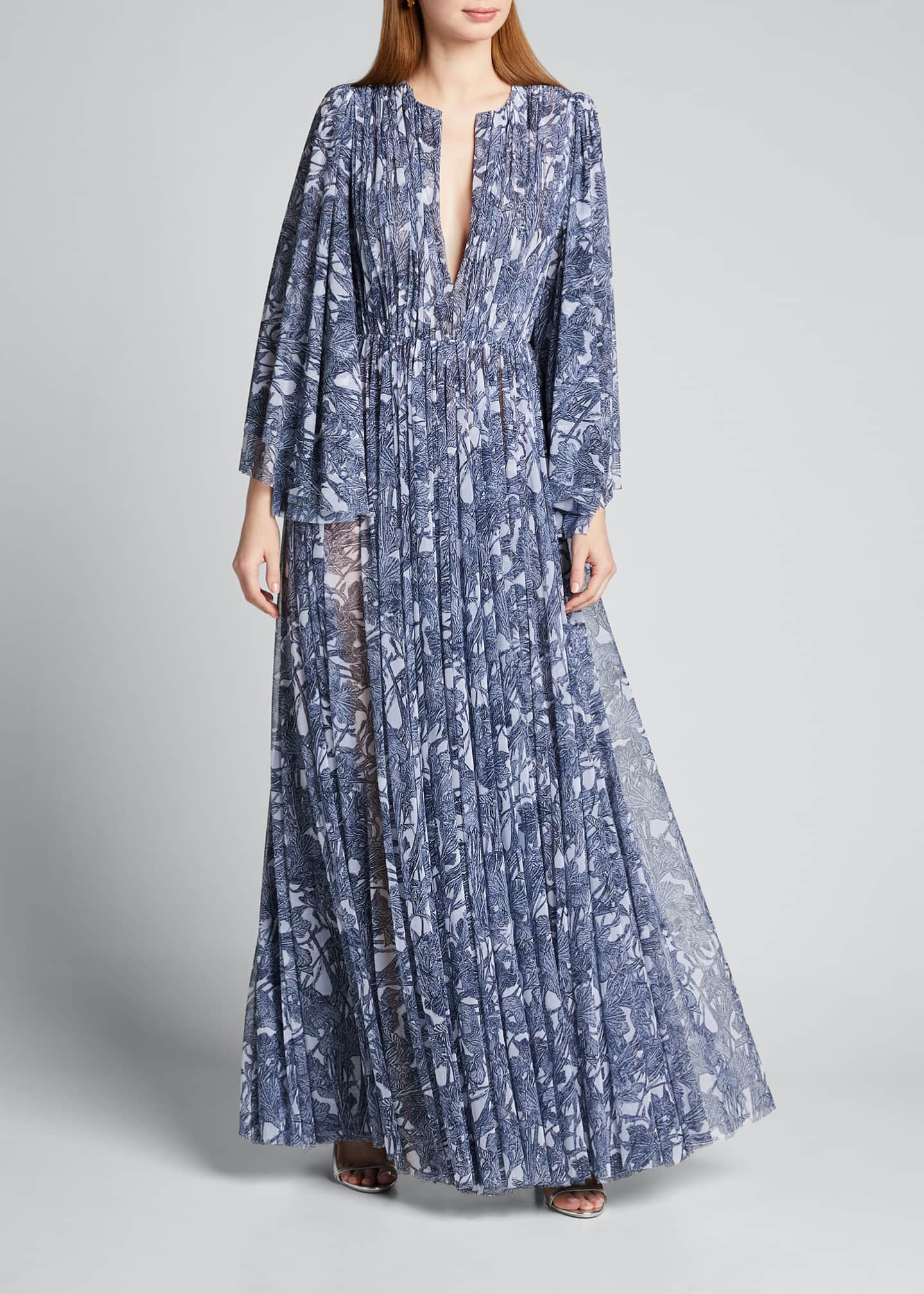Image 3 of 5: V-Neck Floral-Print Pleated Gown