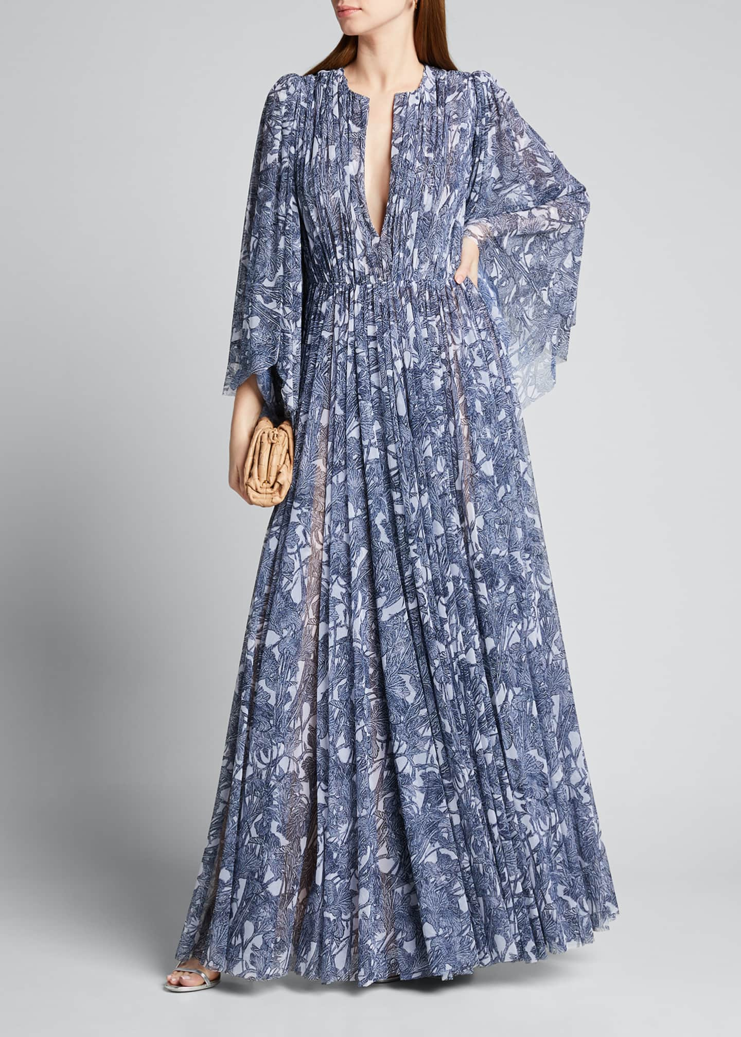 Image 1 of 5: V-Neck Floral-Print Pleated Gown