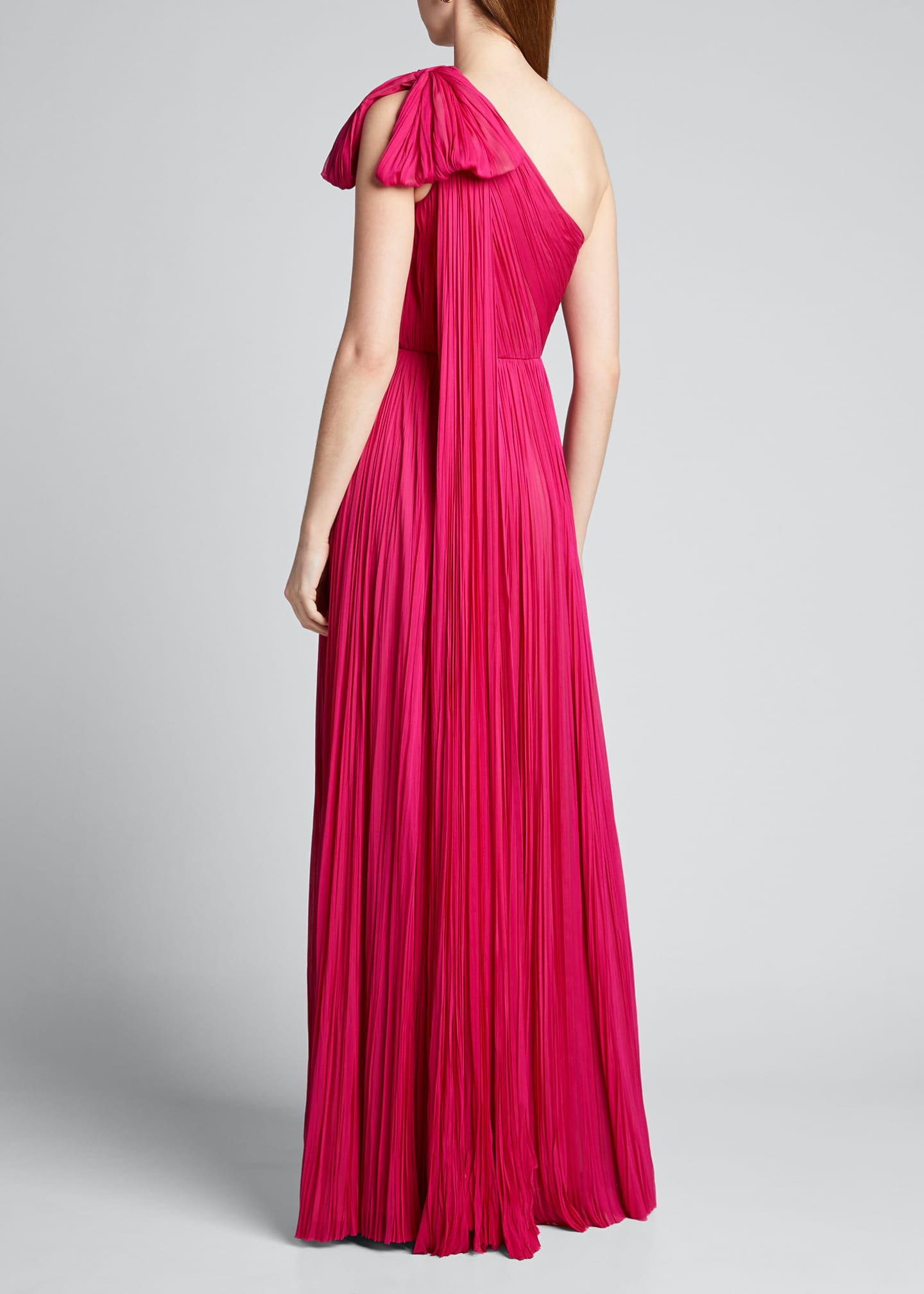 Image 2 of 5: Hand-Pleated Silk Bowed-Shoulder Gown