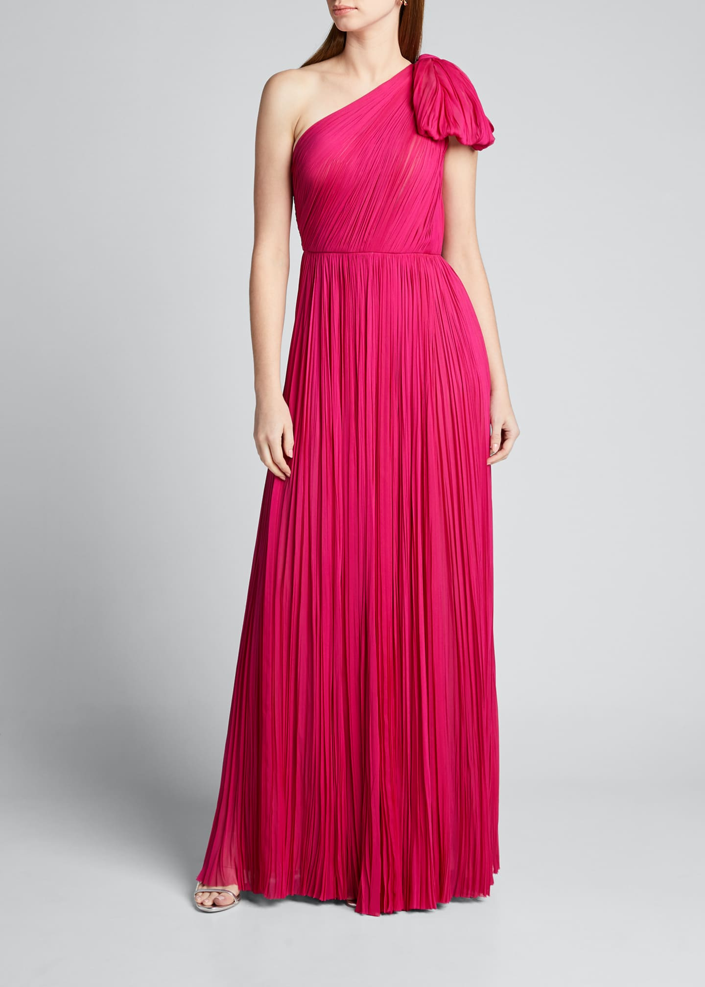 Image 3 of 5: Hand-Pleated Silk Bowed-Shoulder Gown