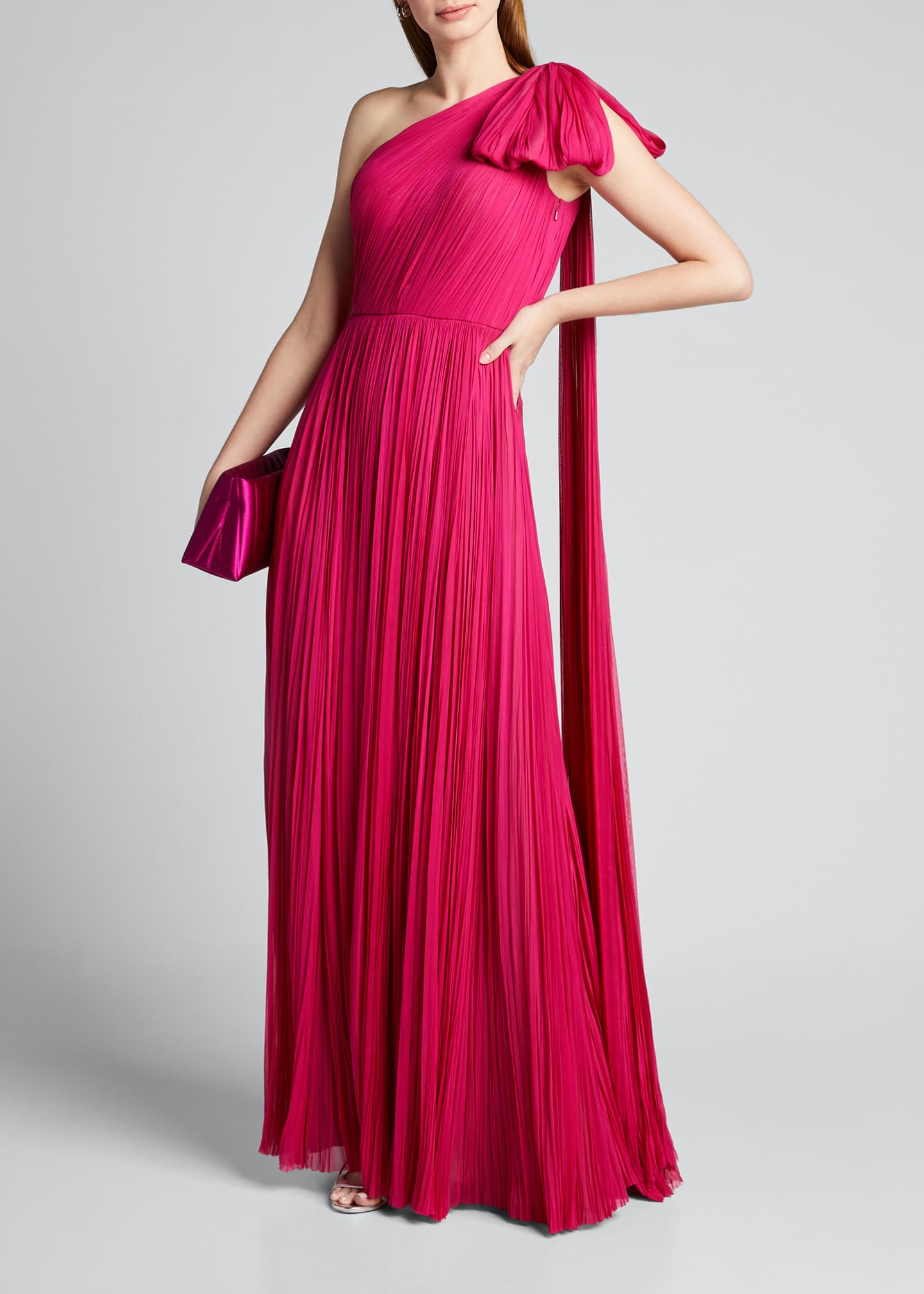Image 1 of 5: Hand-Pleated Silk Bowed-Shoulder Gown